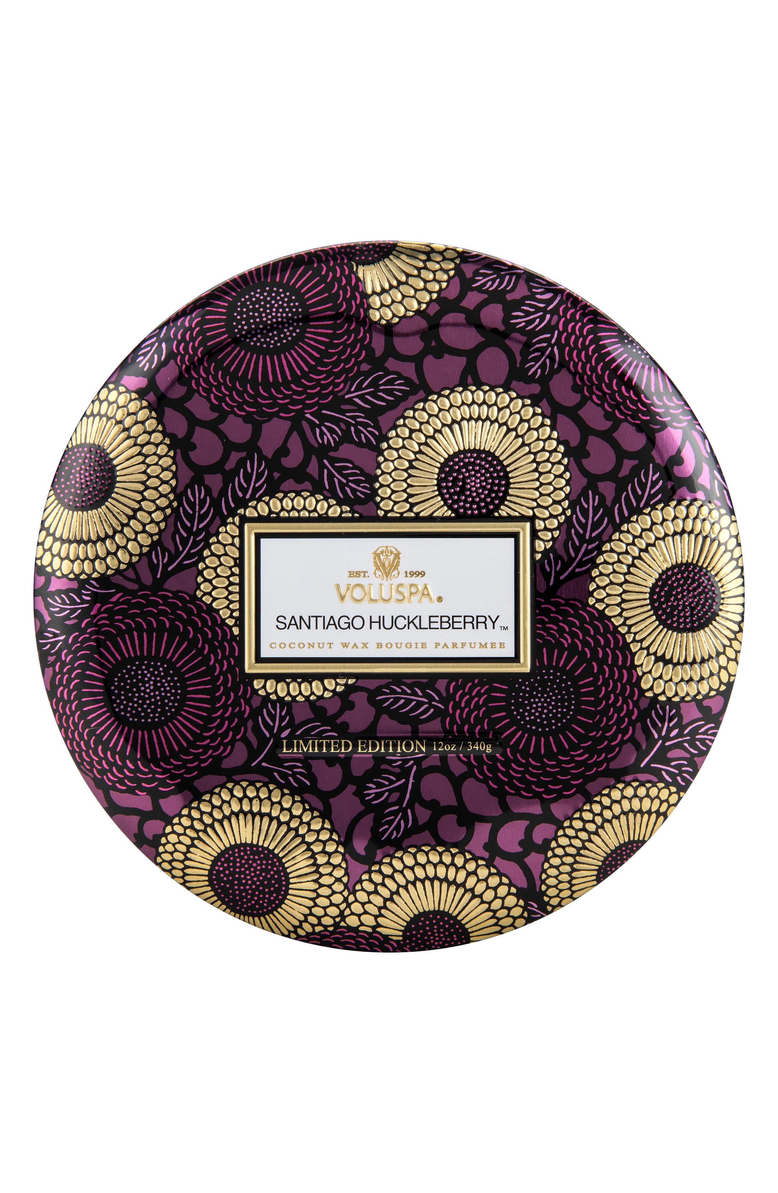 VOLUSPA Japonica Santiago Huckleberry Three-Wick Decorative Tin Candle, Main, color, NO COLOR