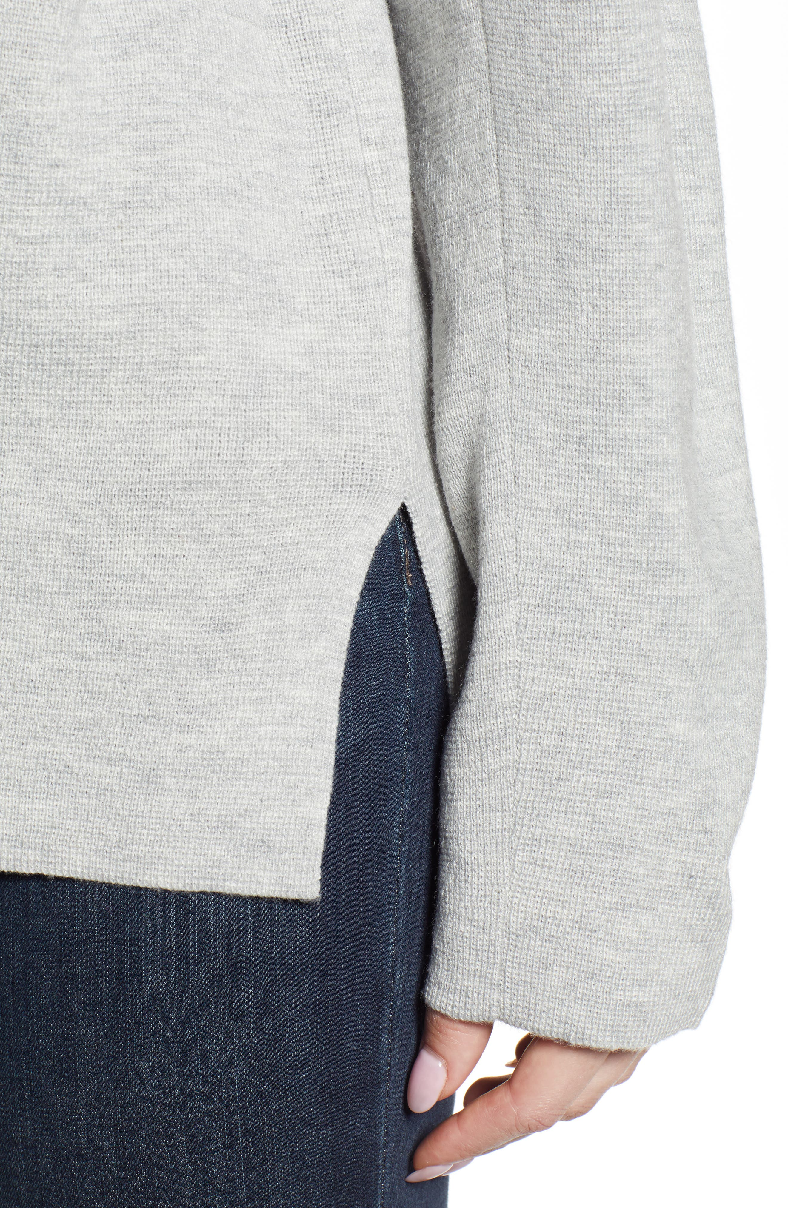 Split Neck Sweater,                             Alternate thumbnail 4, color,                             MED GREY