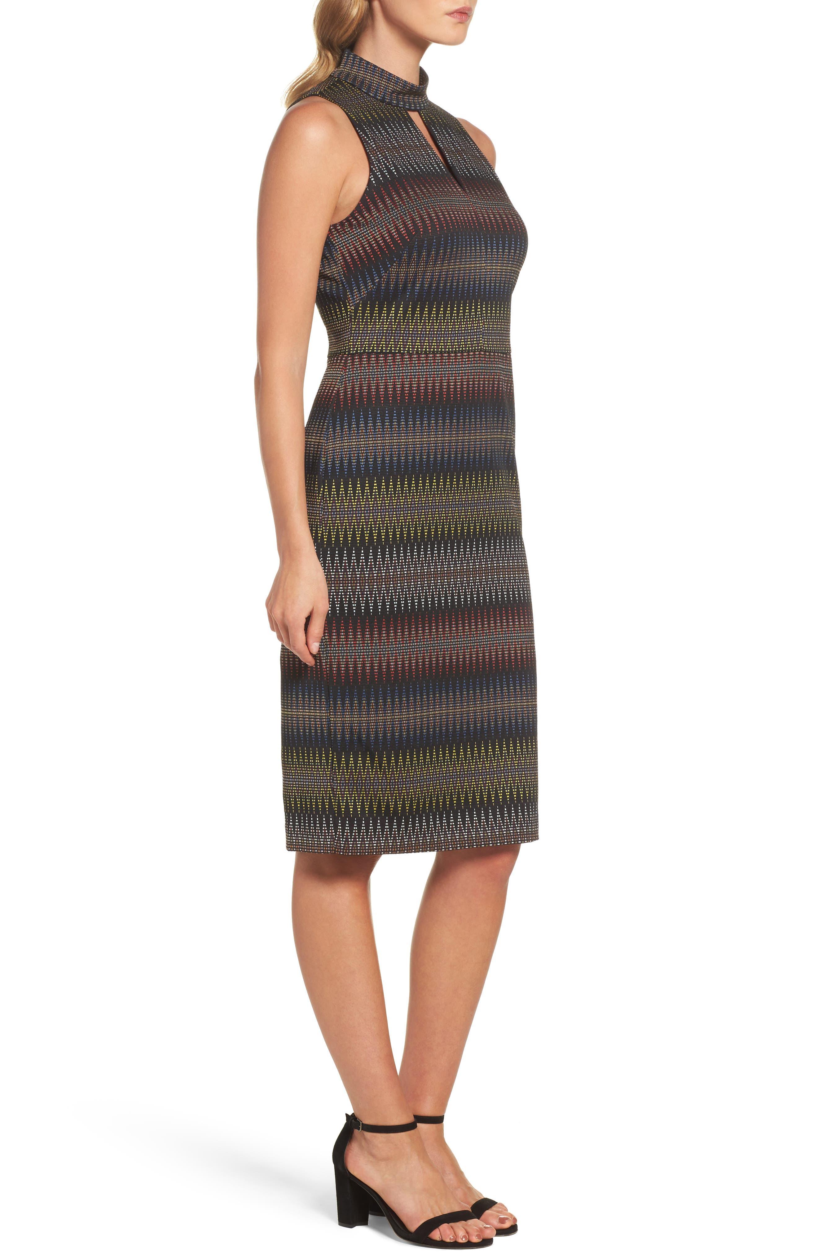 Jacquard Sheath Dress,                             Alternate thumbnail 3, color,                             001