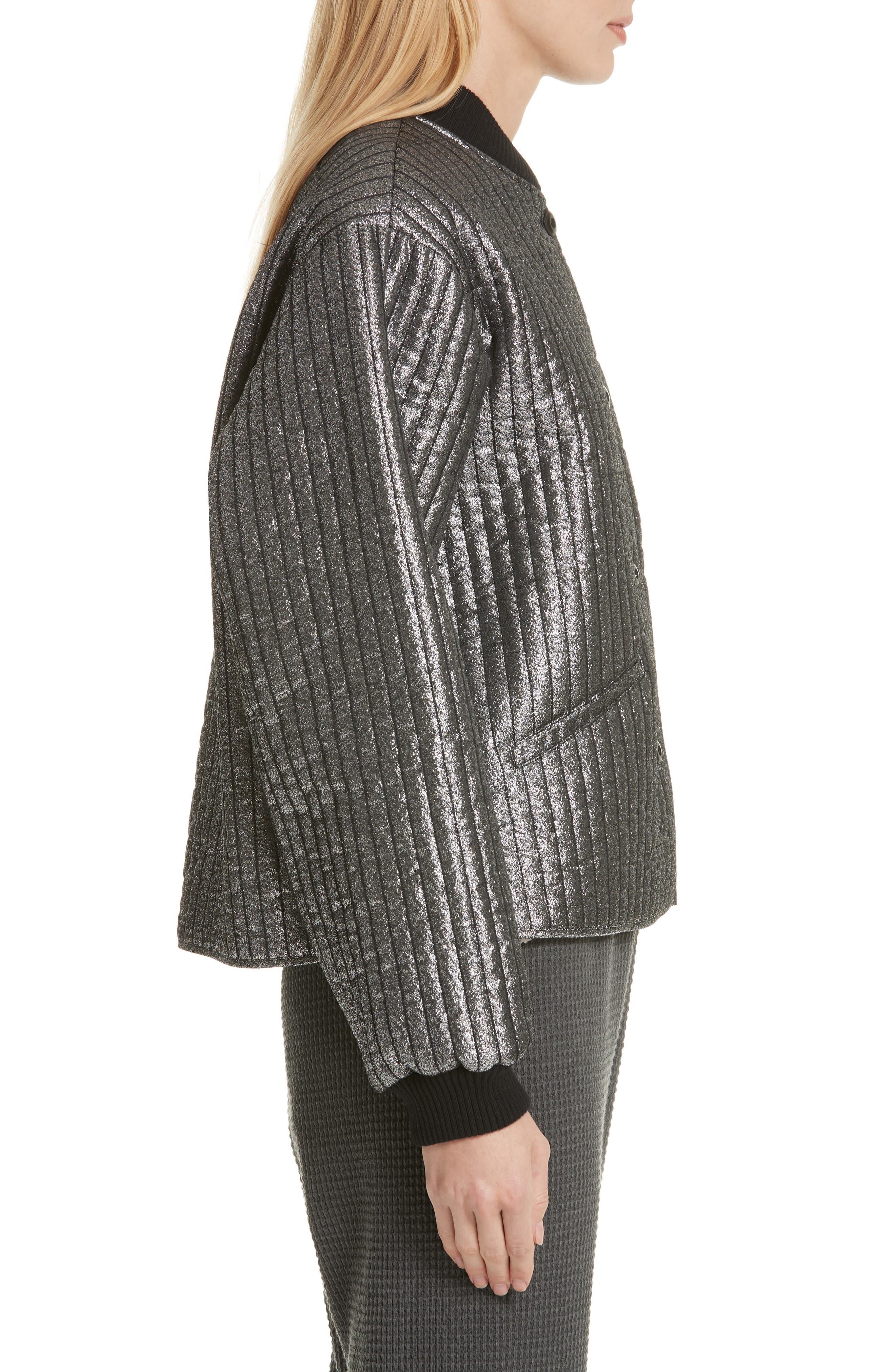THE GREAT.,                             Quilted Metallic Bomber,                             Alternate thumbnail 3, color,                             040