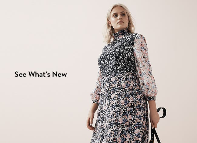 See what's new; long-sleeve, high-neck floral dress.