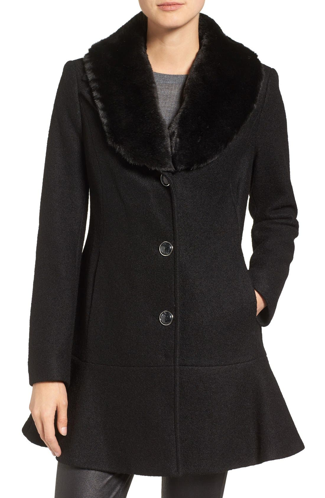 Removable Faux Fur Collar Skirted Coat, Main, color, 001