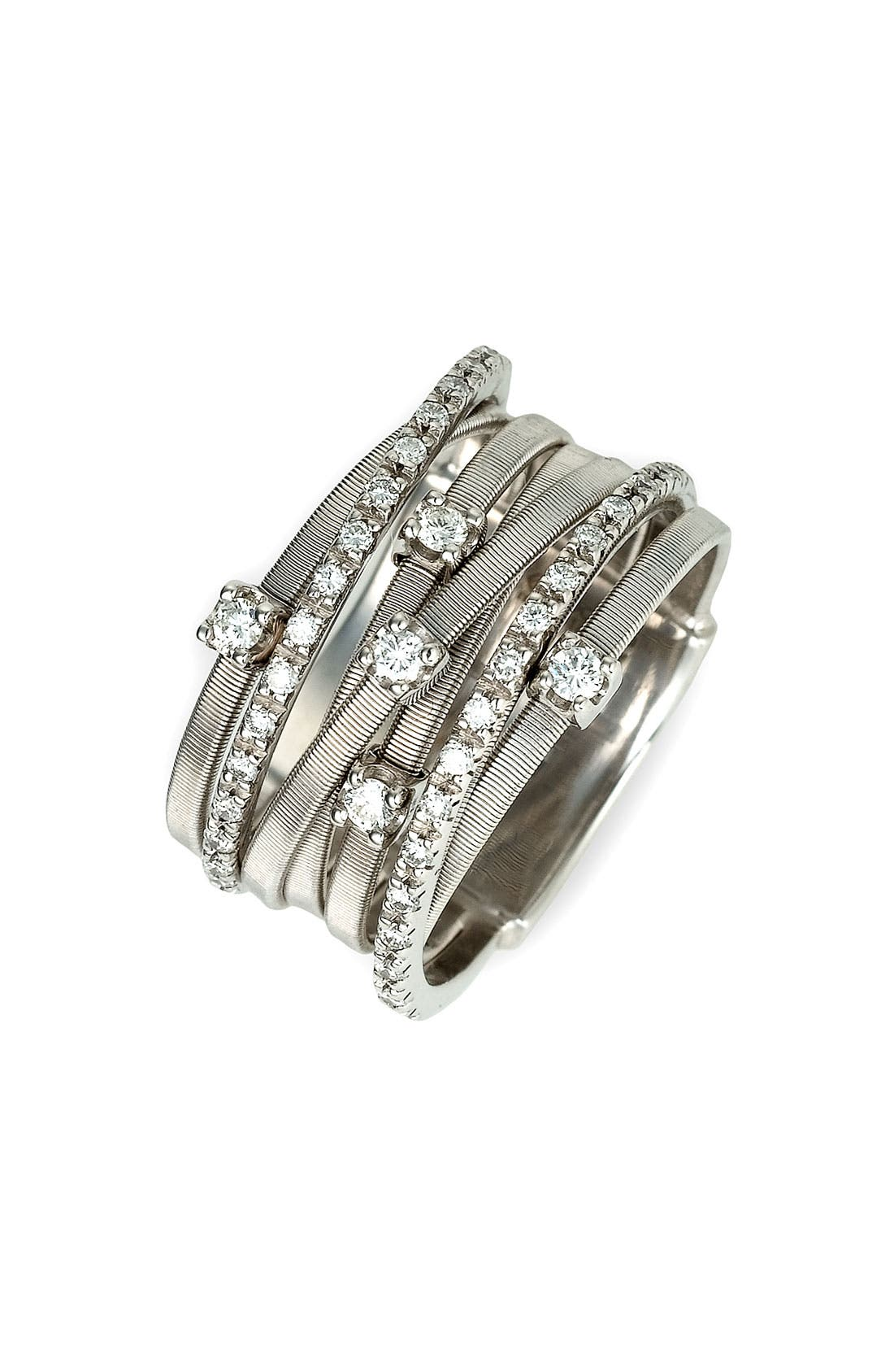 'Goa' Seven Band Diamond Ring,                             Main thumbnail 1, color,                             WHITE GOLD