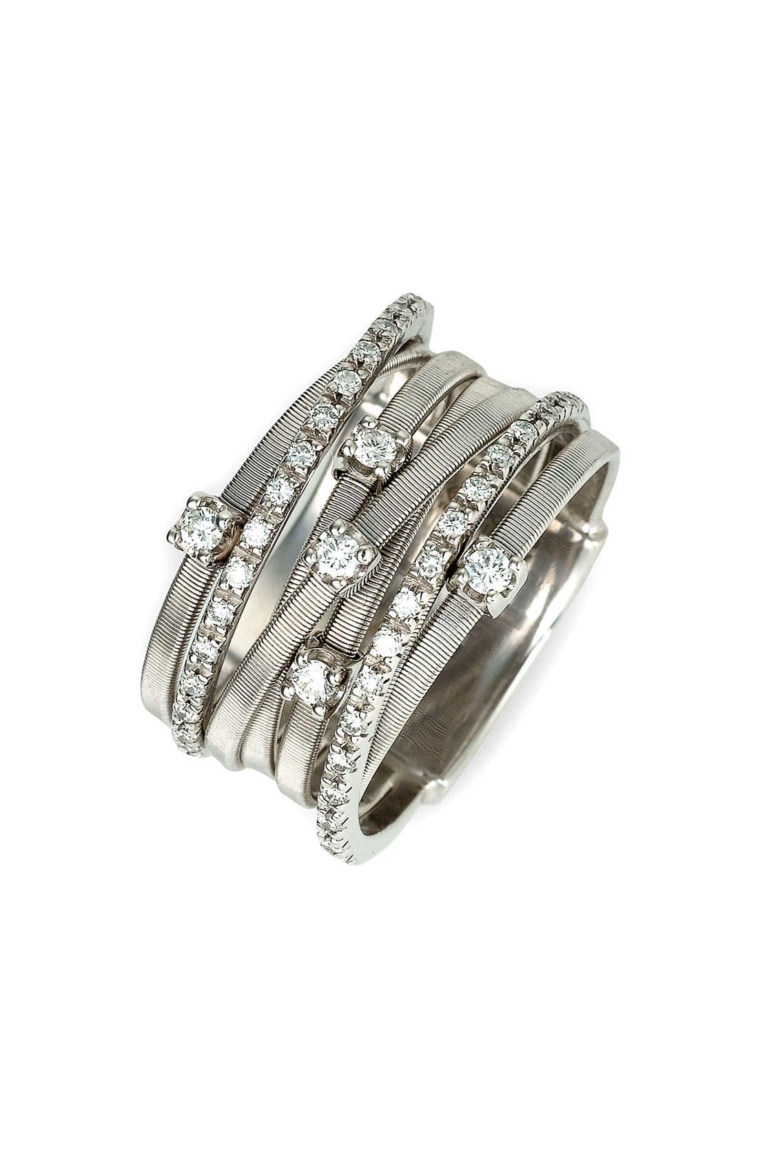 'Goa' Seven Band Diamond Ring,                         Main,                         color, WHITE GOLD