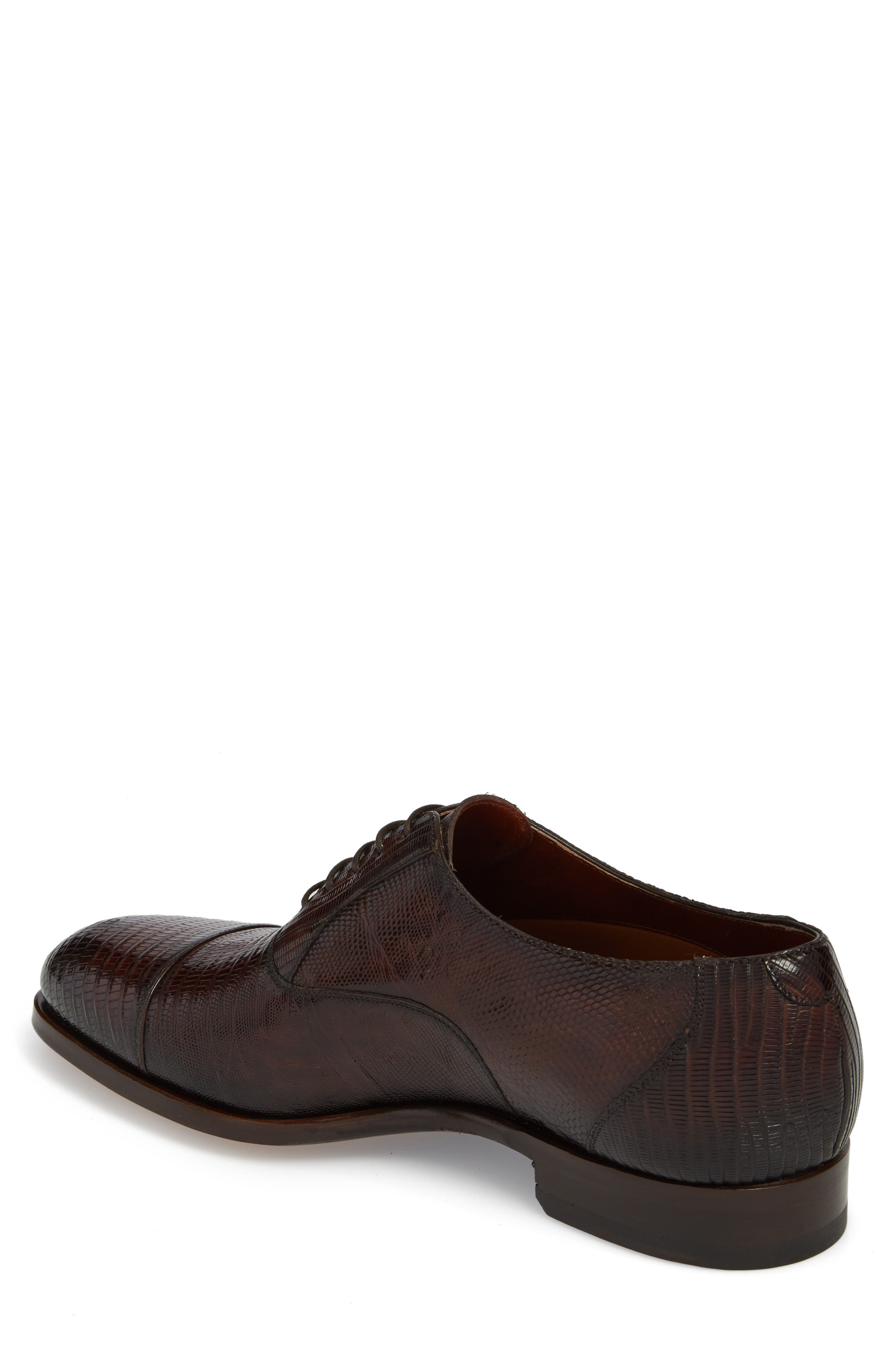 Palmiro Lizard Leather Cap Toe Derby,                             Alternate thumbnail 2, color,                             MID-BROWN LEATHER