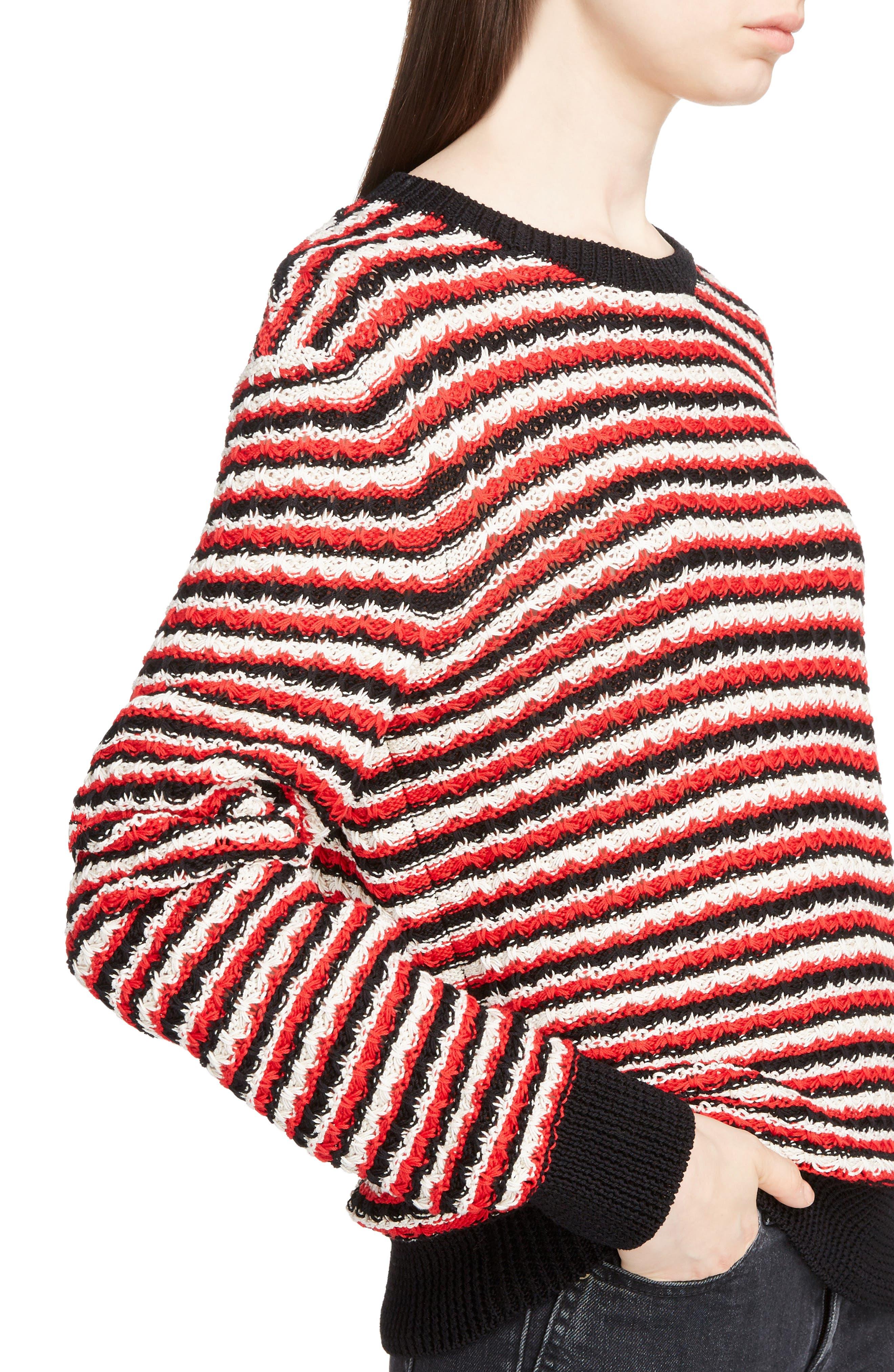 Crochet Stripe Sweater,                             Alternate thumbnail 4, color,                             600