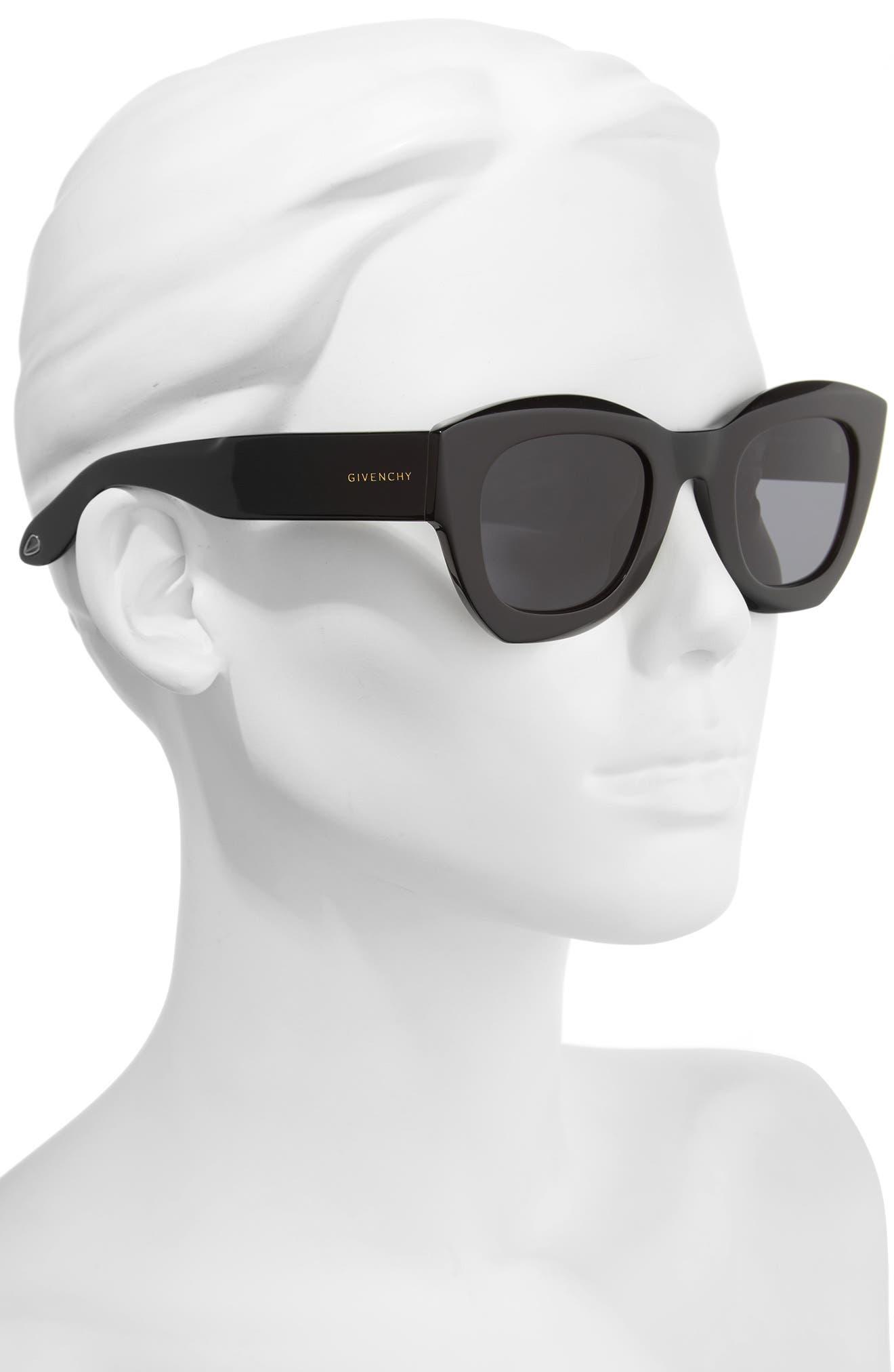 48mm Cat Eye Sunglasses,                             Alternate thumbnail 2, color,                             001