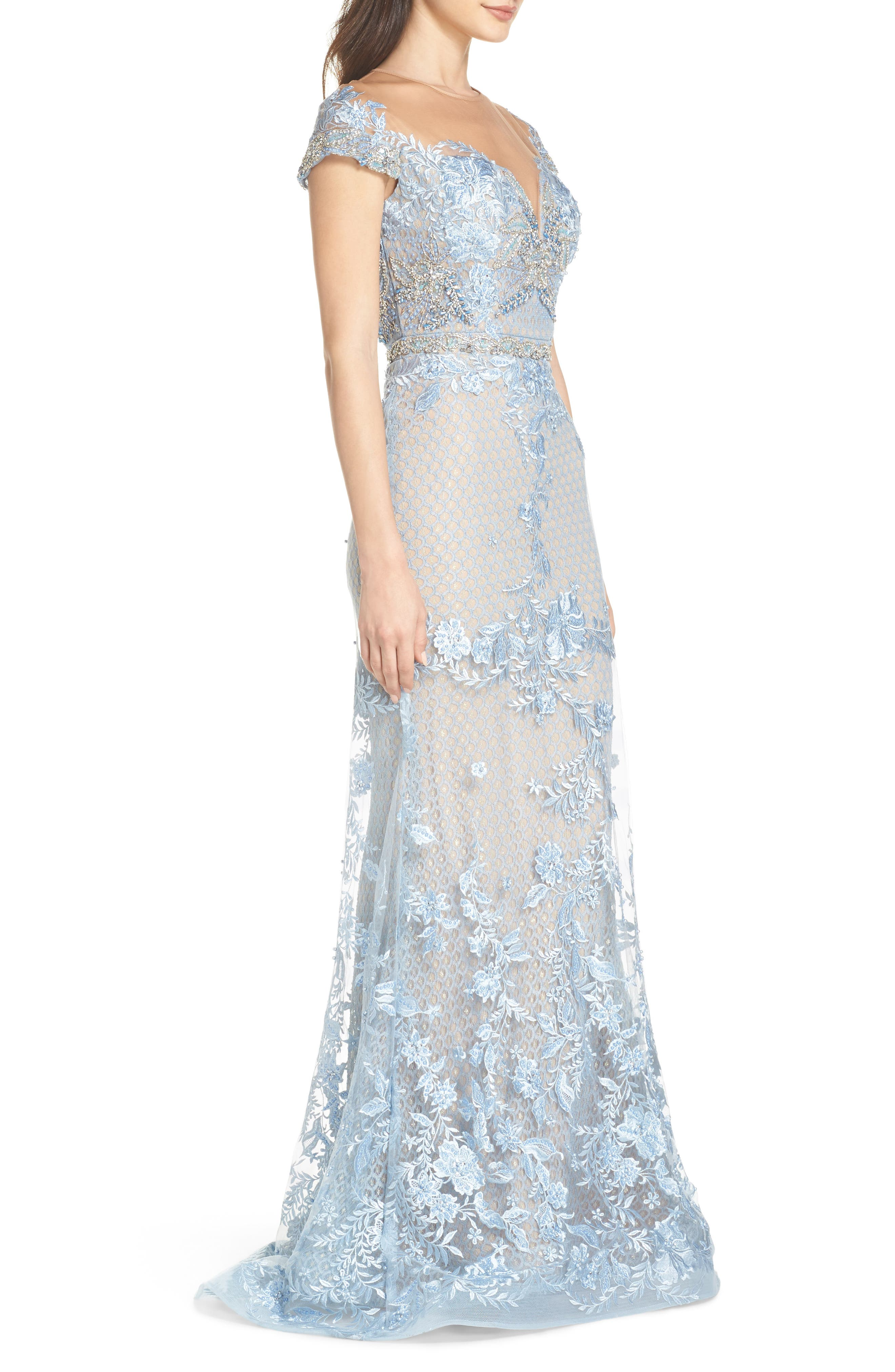 Beaded Lace Trumpet Gown,                             Alternate thumbnail 3, color,                             POWDER BLUE