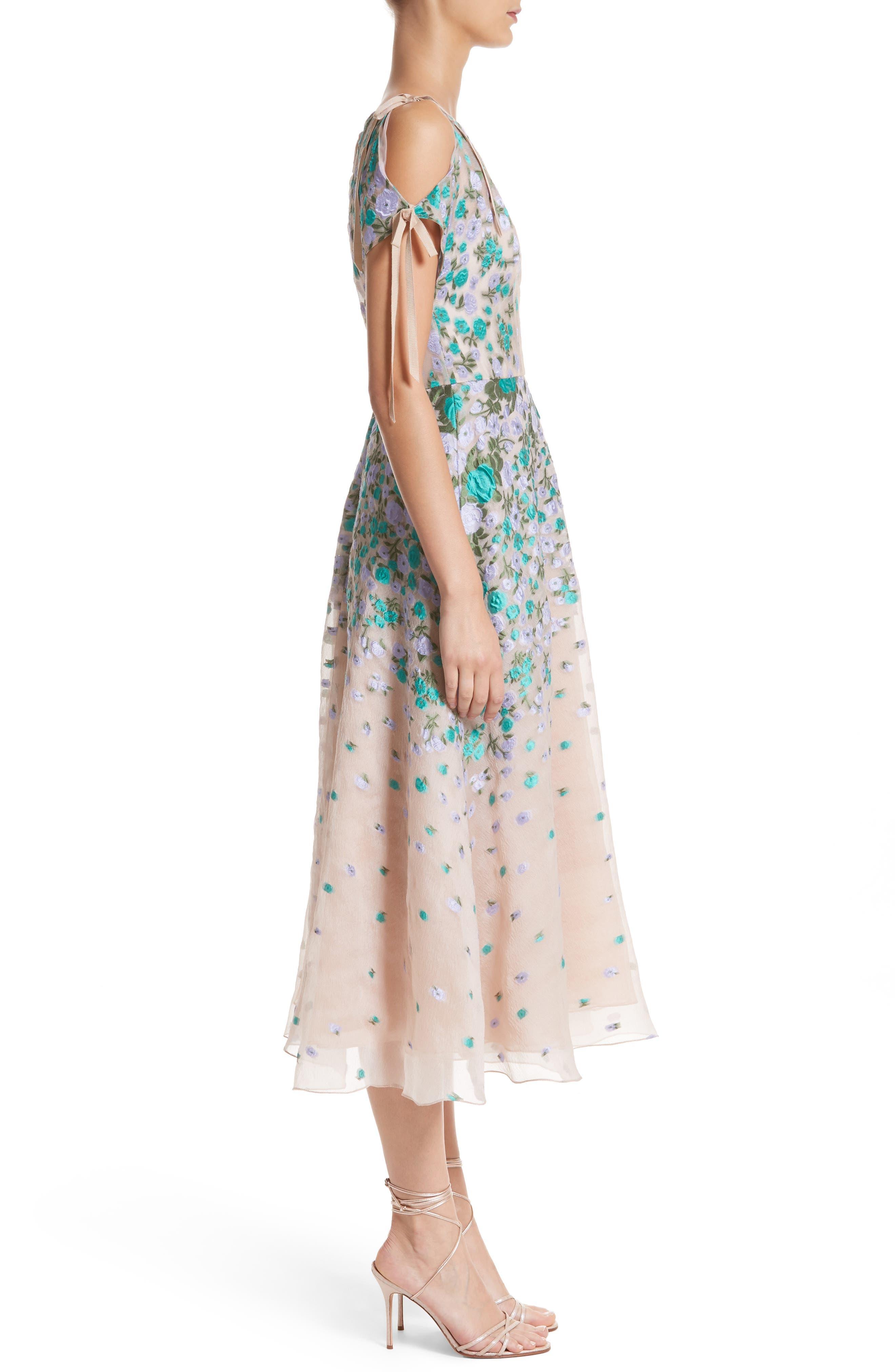 Floral Matelassé Cold Shoulder Dress,                             Alternate thumbnail 3, color,                             536