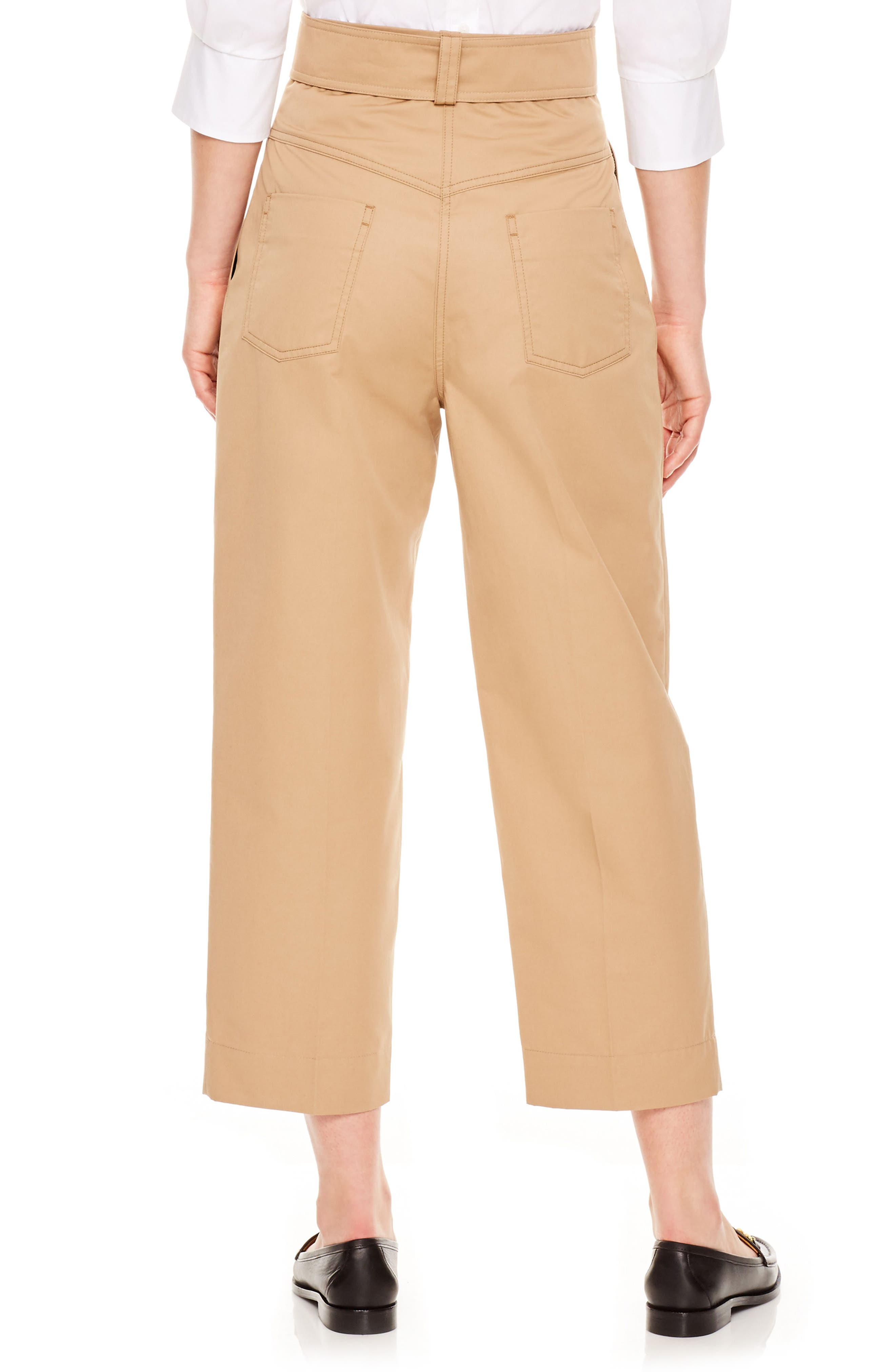 SANDRO,                             Beige Wide Leg Crop Pants,                             Alternate thumbnail 2, color,                             250