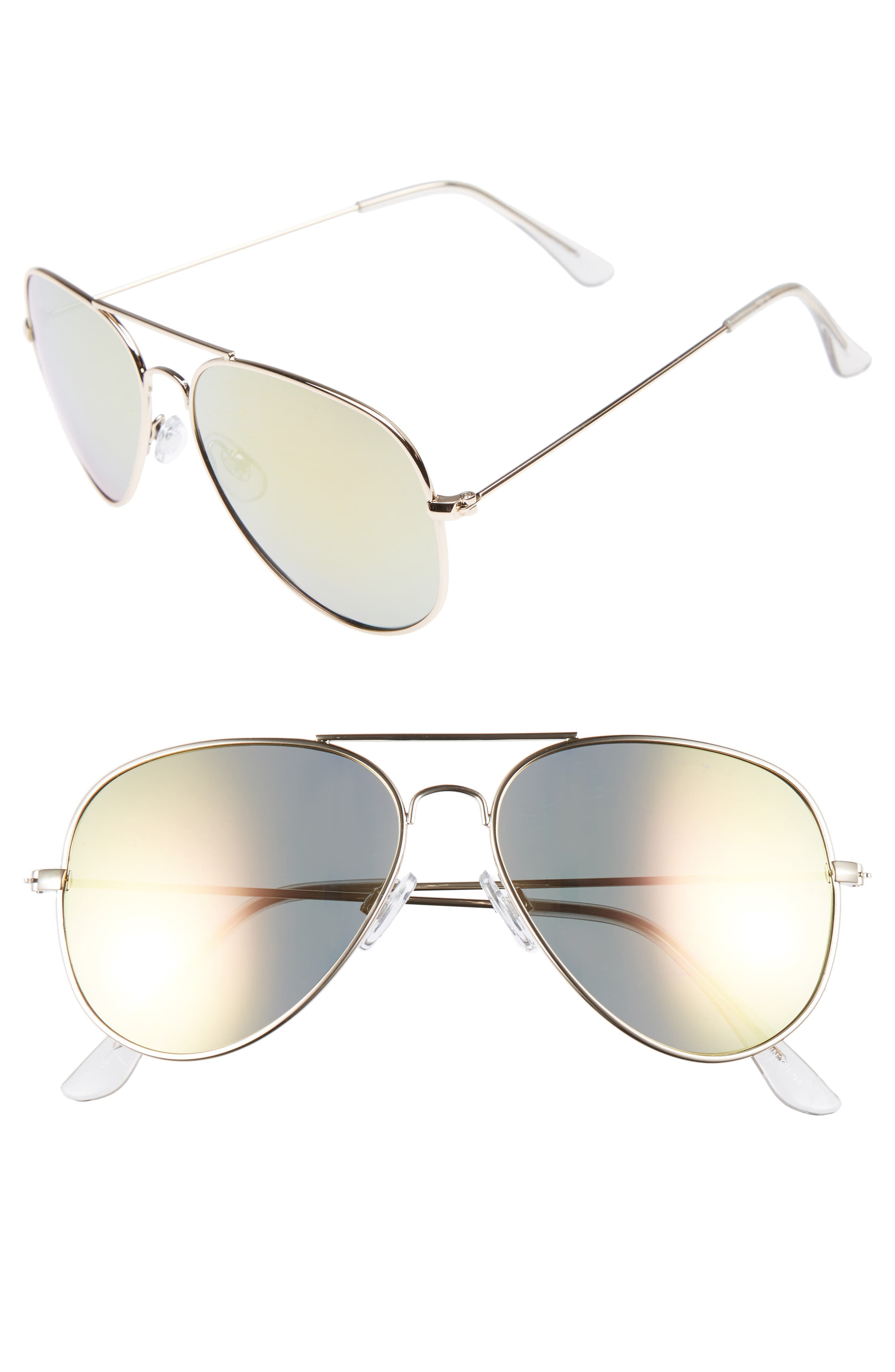 Mirrored Aviator 57mm Sunglasses,                             Main thumbnail 9, color,