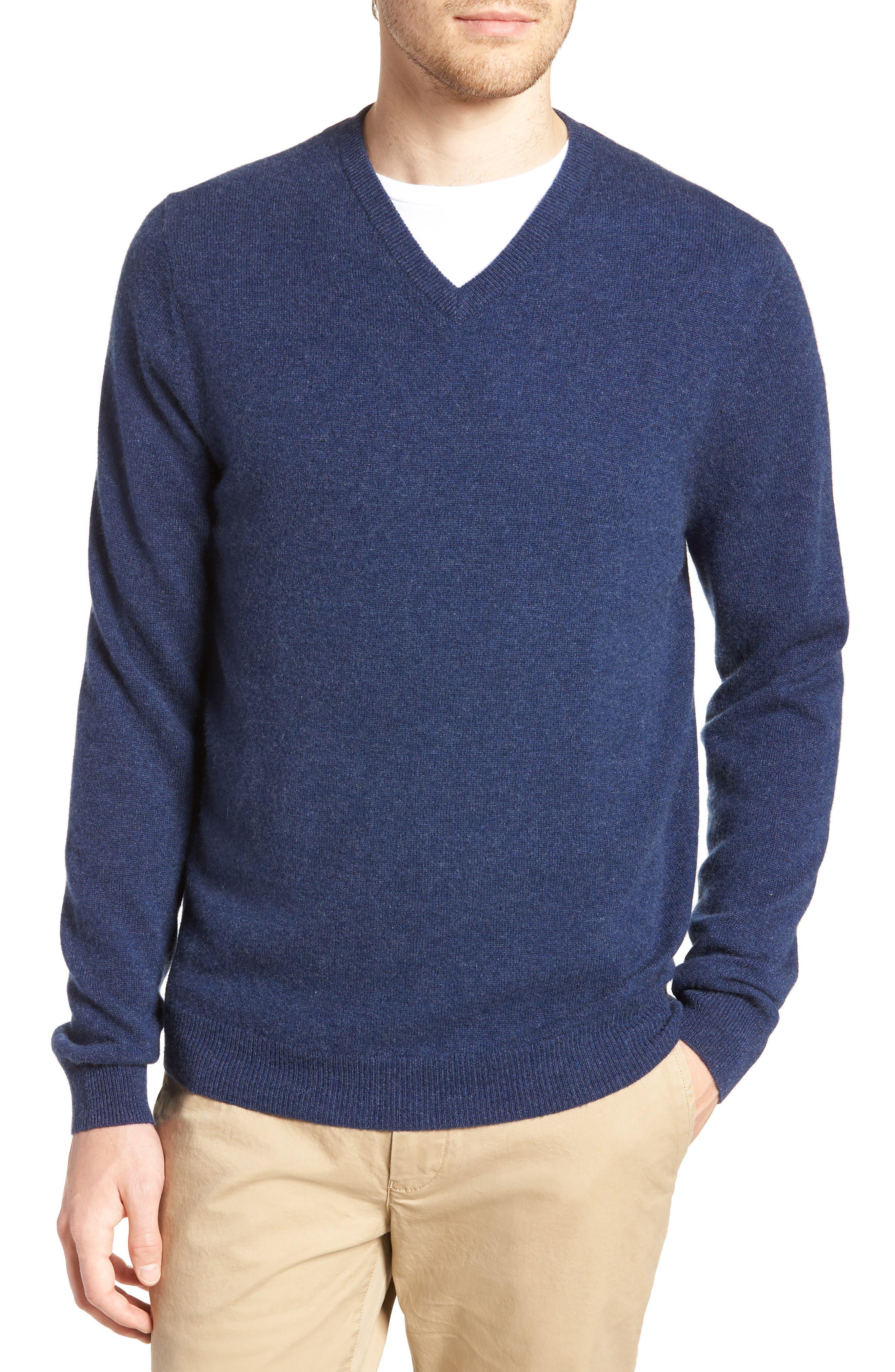 Cashmere V-Neck Sweater,                         Main,                         color, BLUE ESTATE HEATHER
