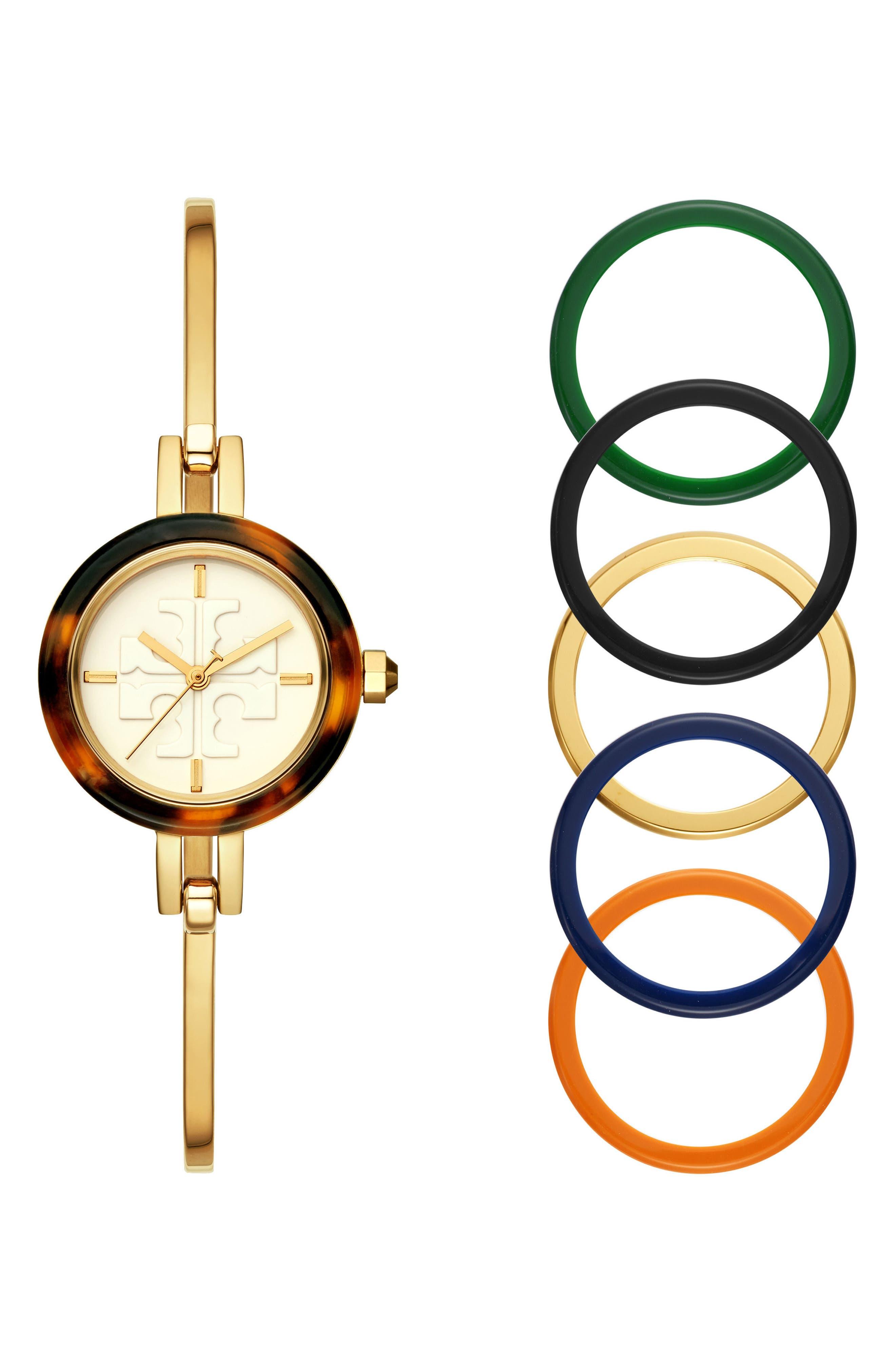 Gigi Bangle Bracelet Watch Set, 28mm,                             Main thumbnail 1, color,                             GOLD/ IVORY/ TORTOISE