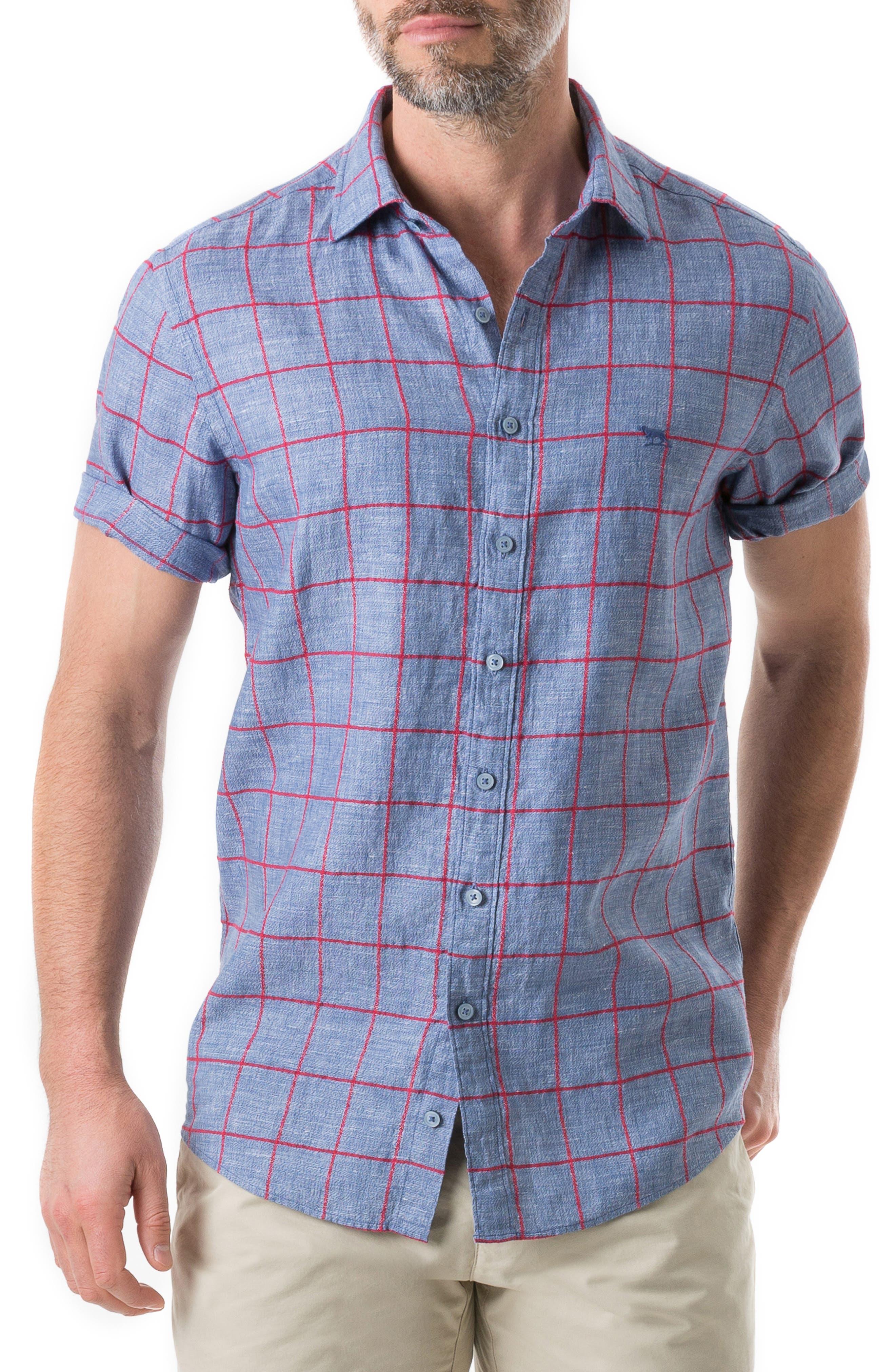 Rodd & Gunn Linfield Linen Blend Plaid Sport Shirt, Blue