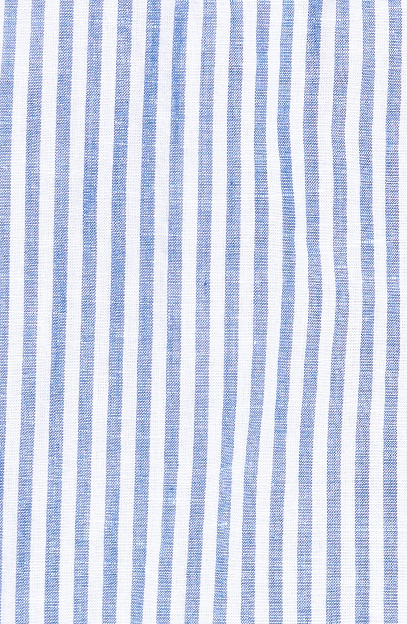 Stripe Chambray Cotton & Linen Sport Shirt,                             Alternate thumbnail 5, color,                             RICH BLUE