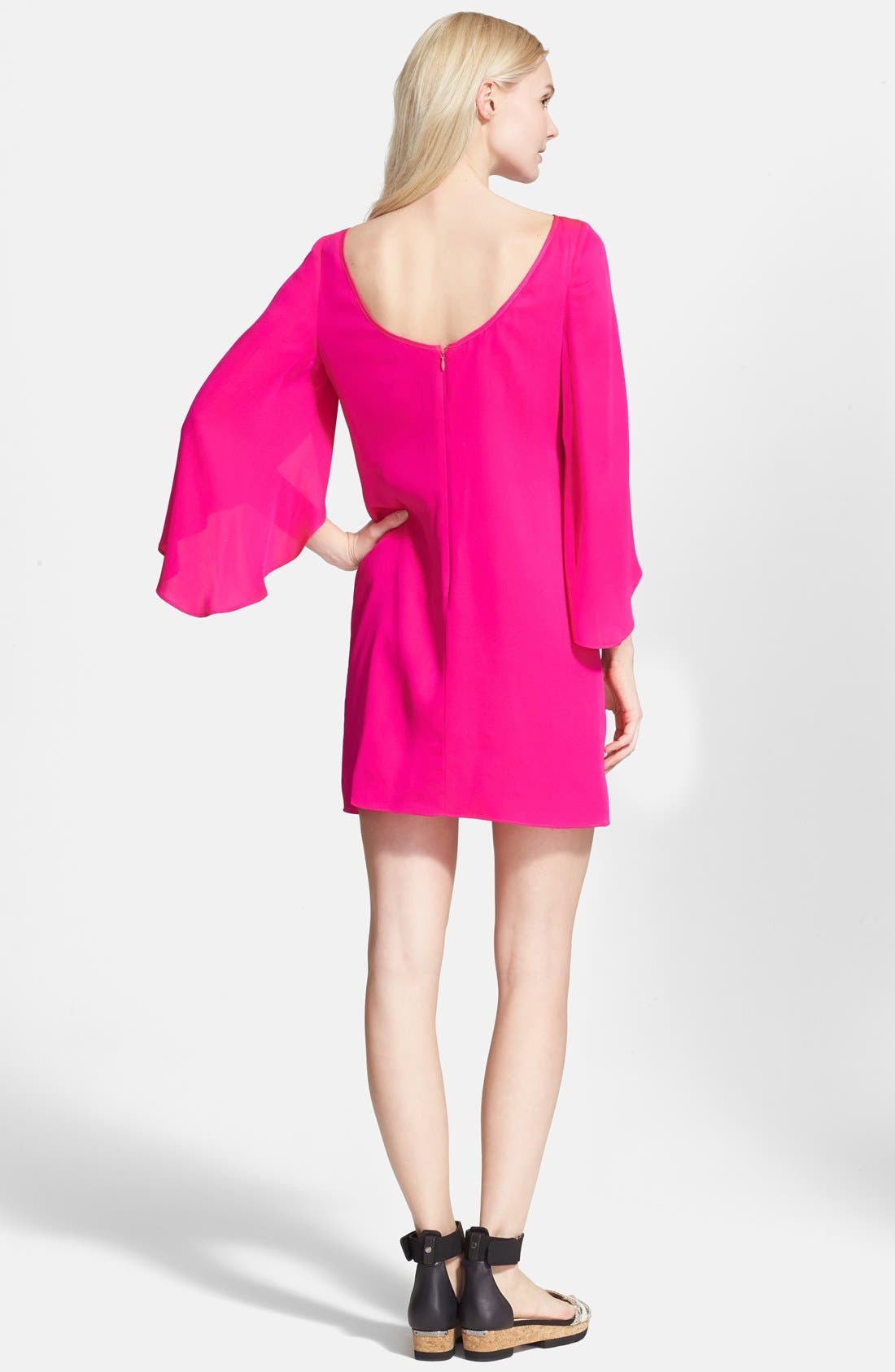 Butterfly Sleeve Stretch Silk Crepe Minidress,                             Alternate thumbnail 15, color,