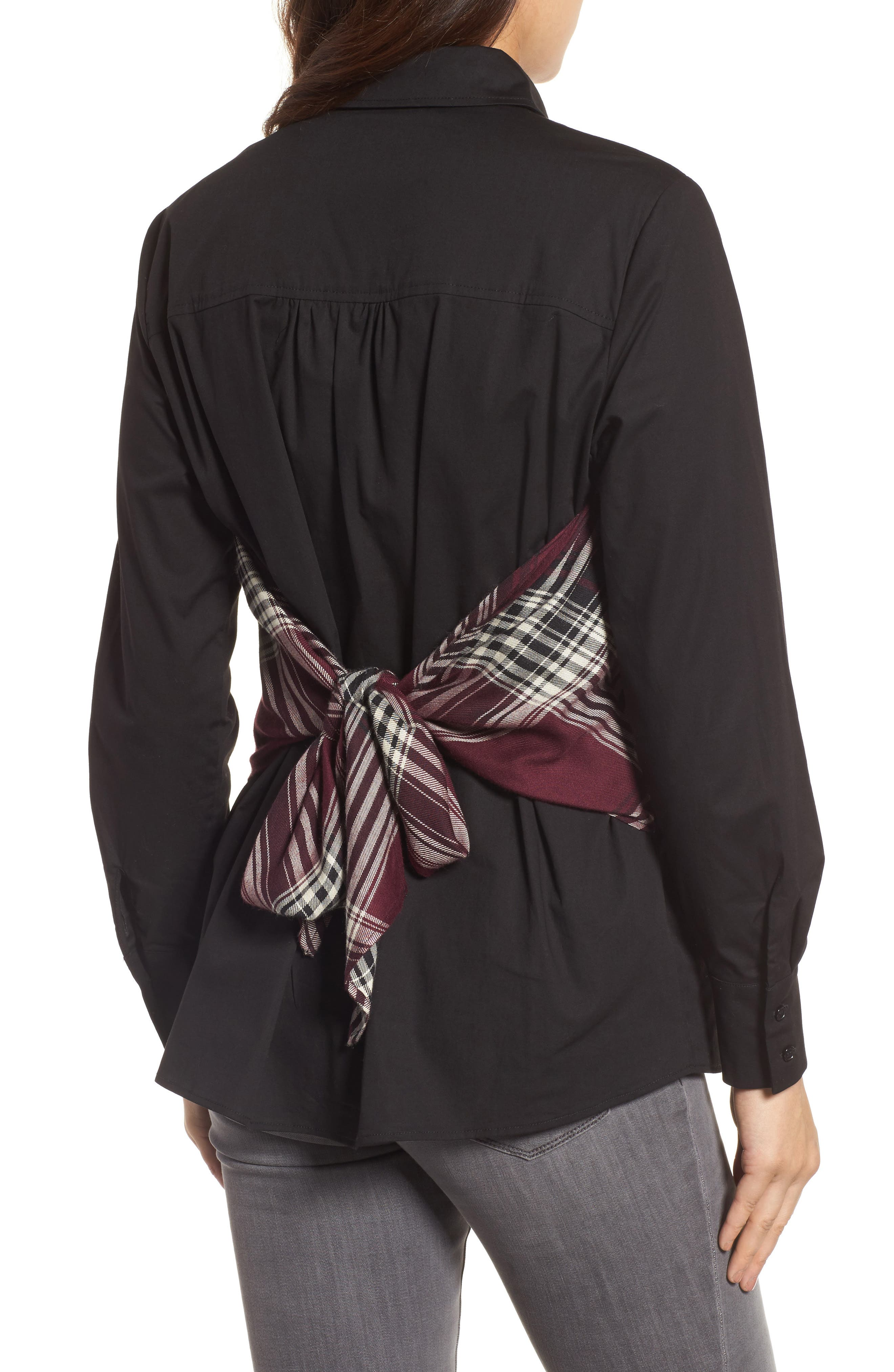 Plaid Corset Shirt,                             Alternate thumbnail 6, color,