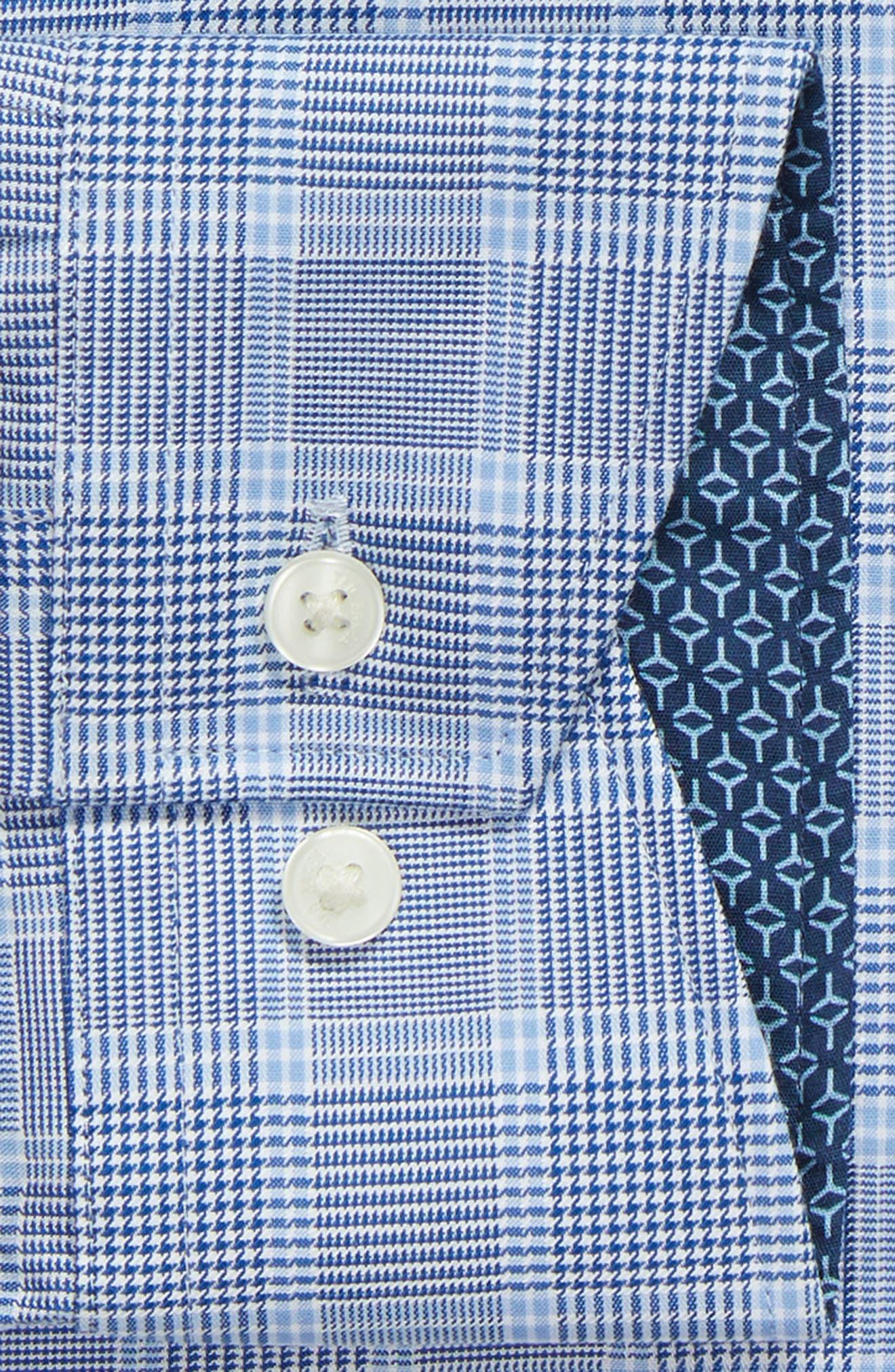 Royaltt Trim Fit Plaid Dress Shirt,                             Alternate thumbnail 6, color,                             NAVY