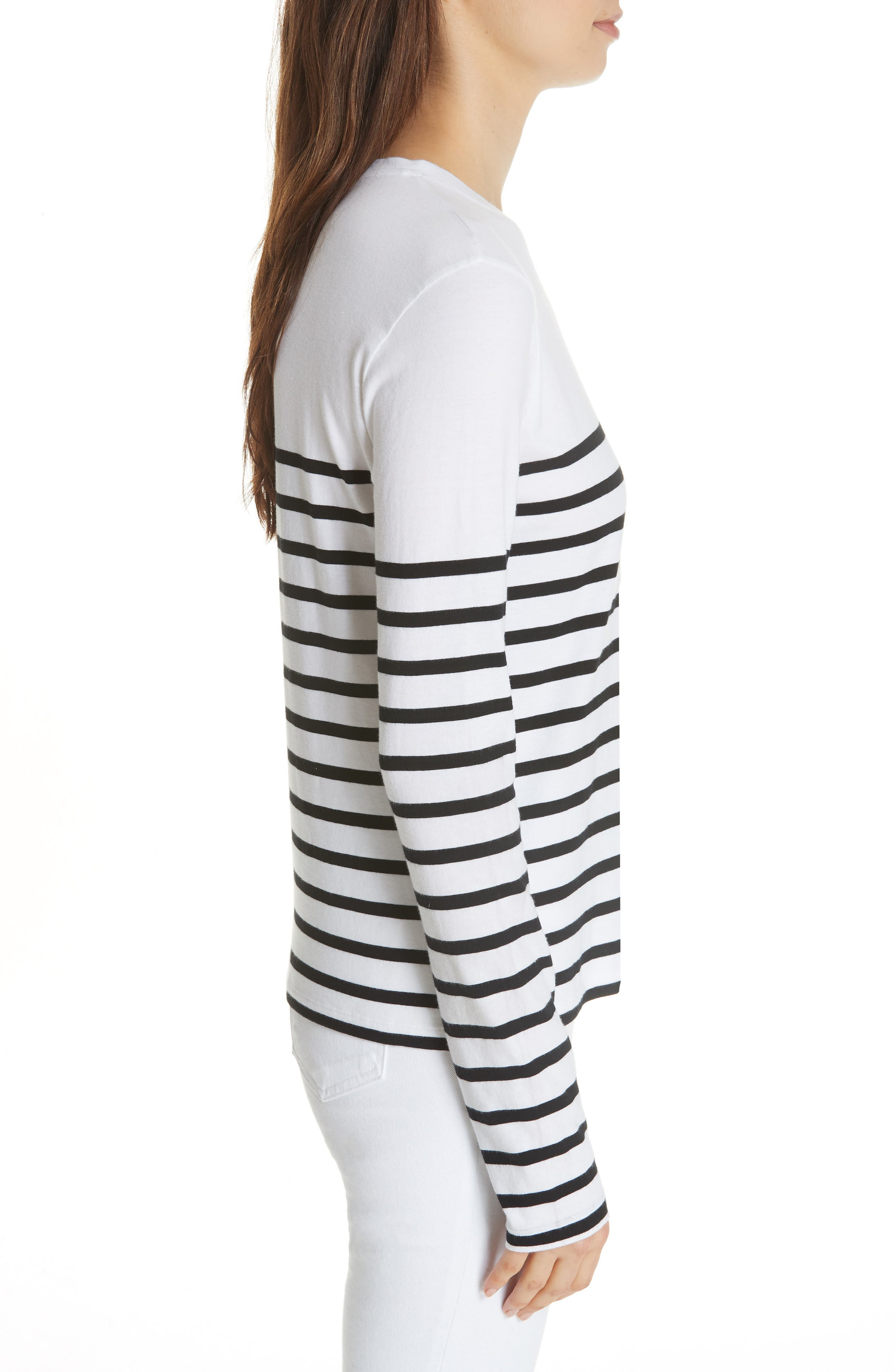 Lean Lines Tee,                             Alternate thumbnail 3, color,                             WHITE AND BLACK STRIPE