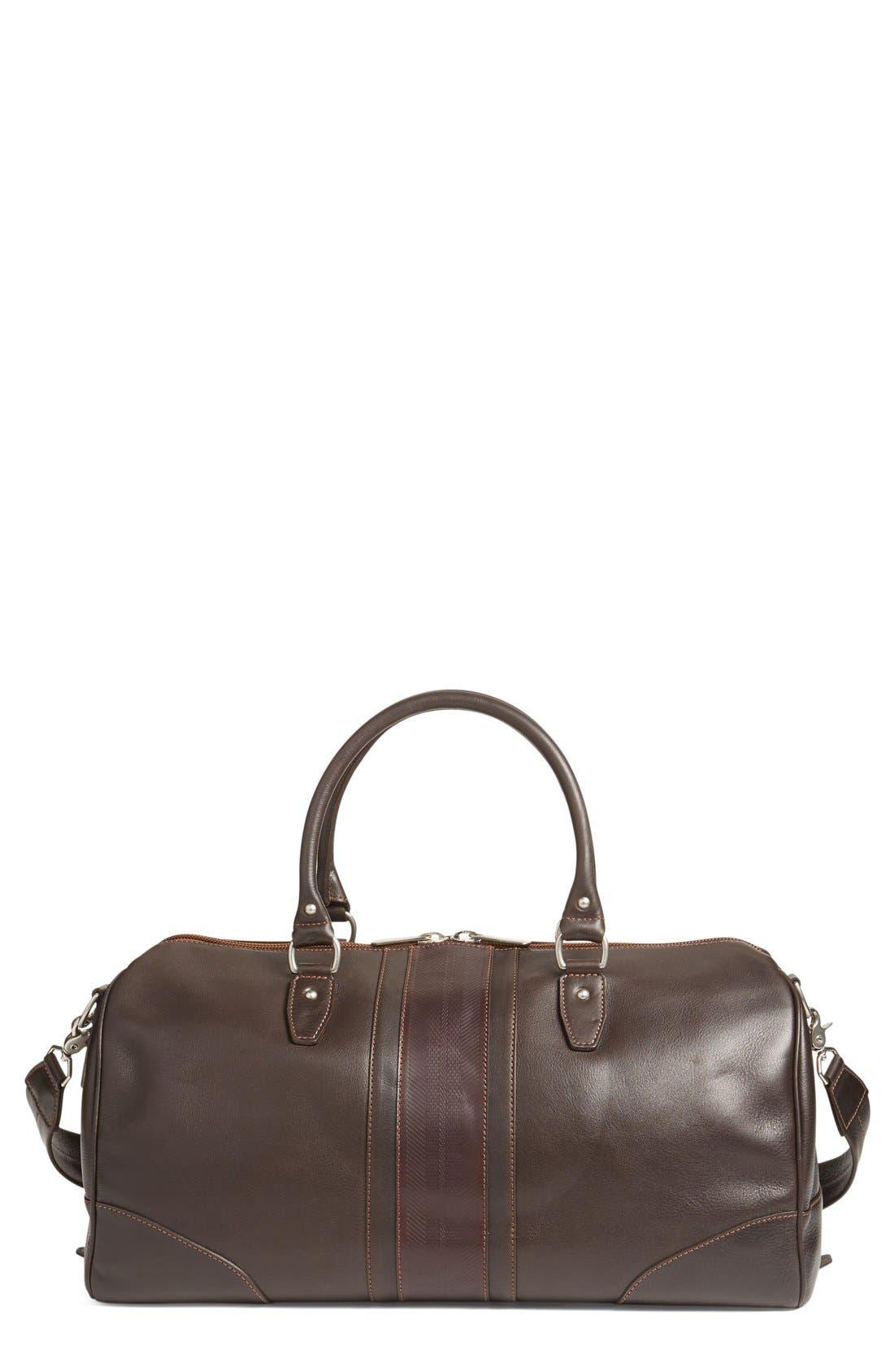 MARTIN DINGMAN 'Polocrosse' Duffel Bag, Main, color, DARK BROWN