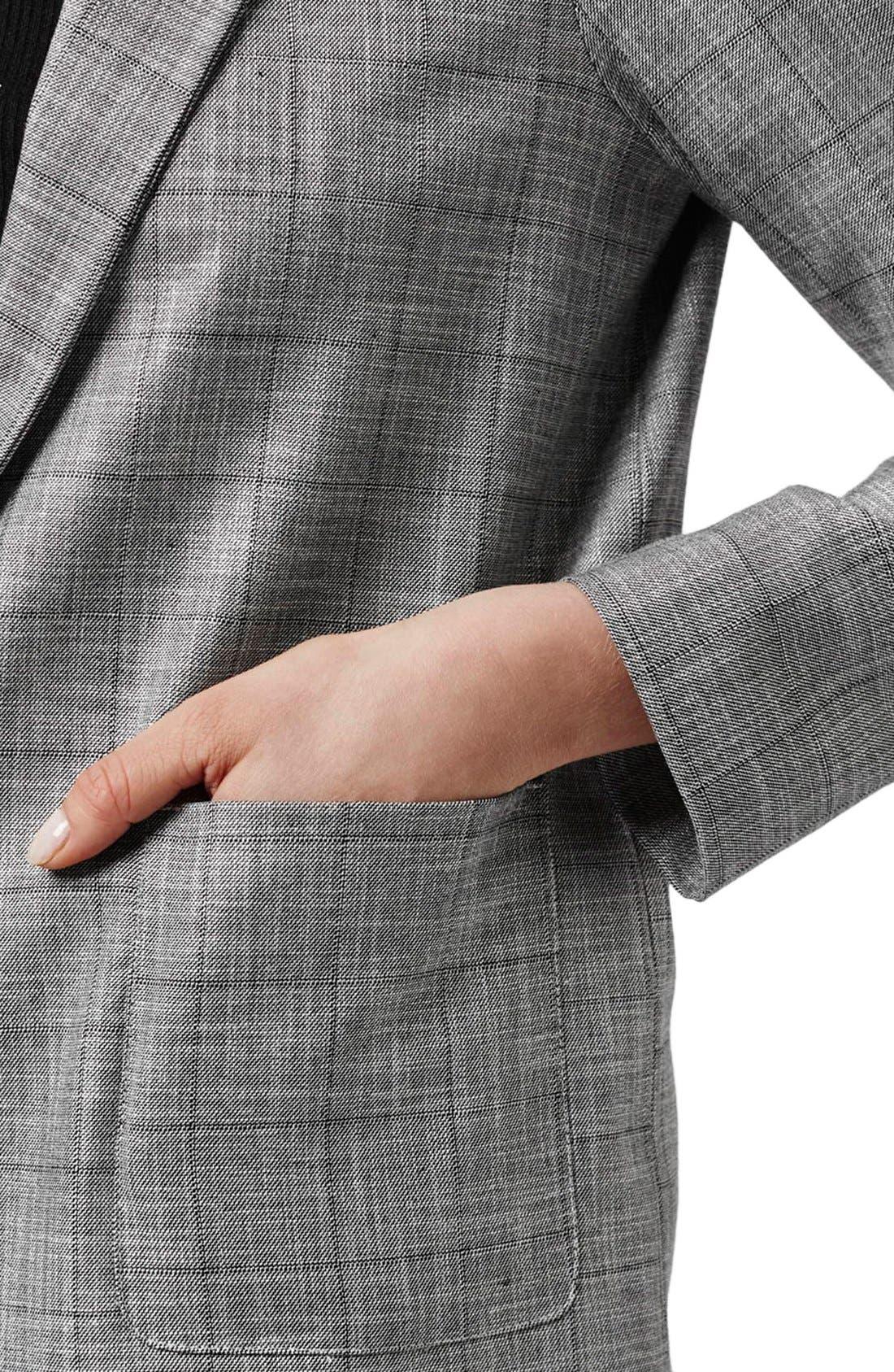 TOPSHOP,                             'Check Tonic' One-Button Suit Blazer,                             Alternate thumbnail 6, color,                             020