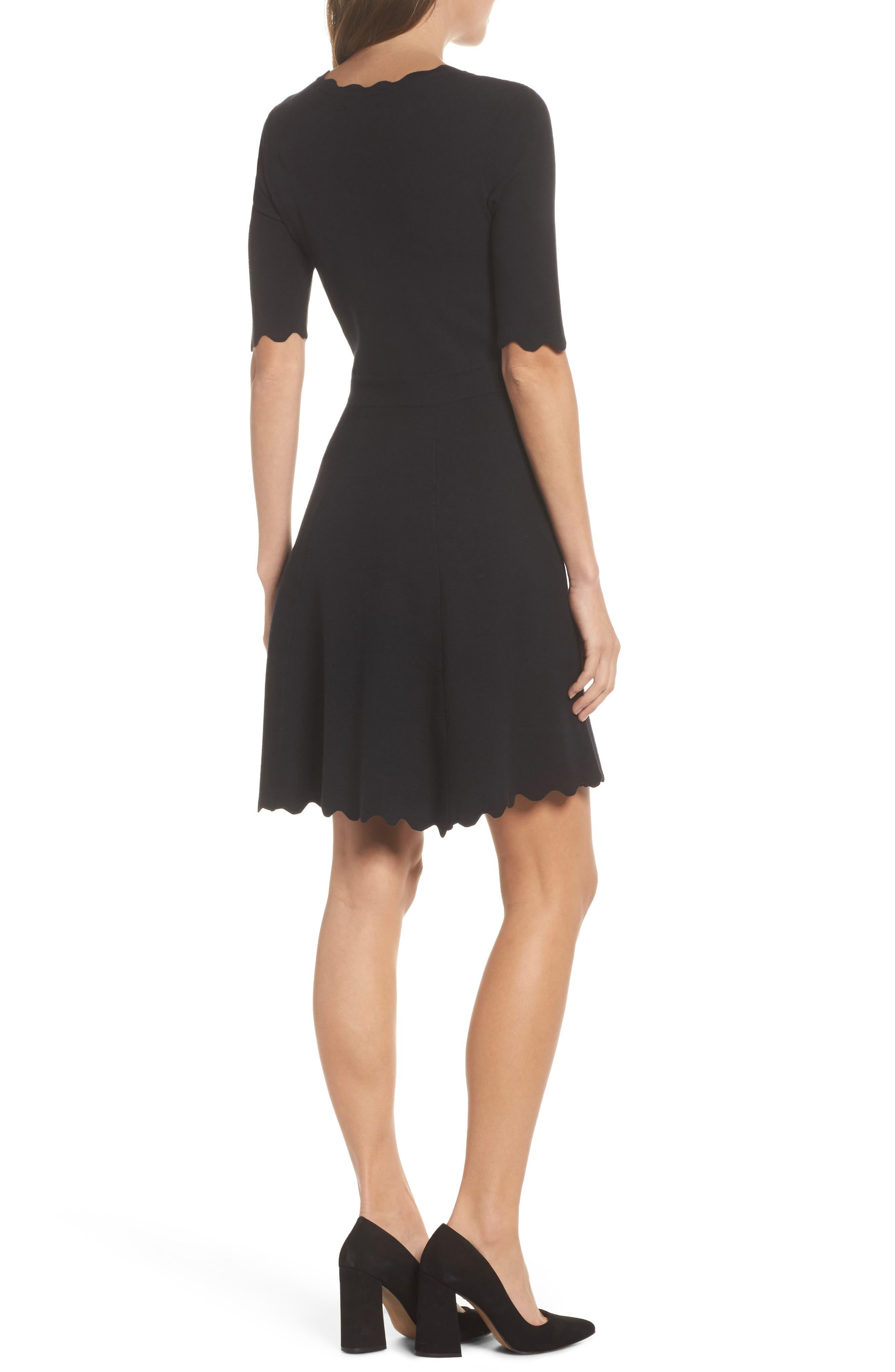 Scallop Trim Fit & Flare Dress,                             Alternate thumbnail 2, color,                             BLACK