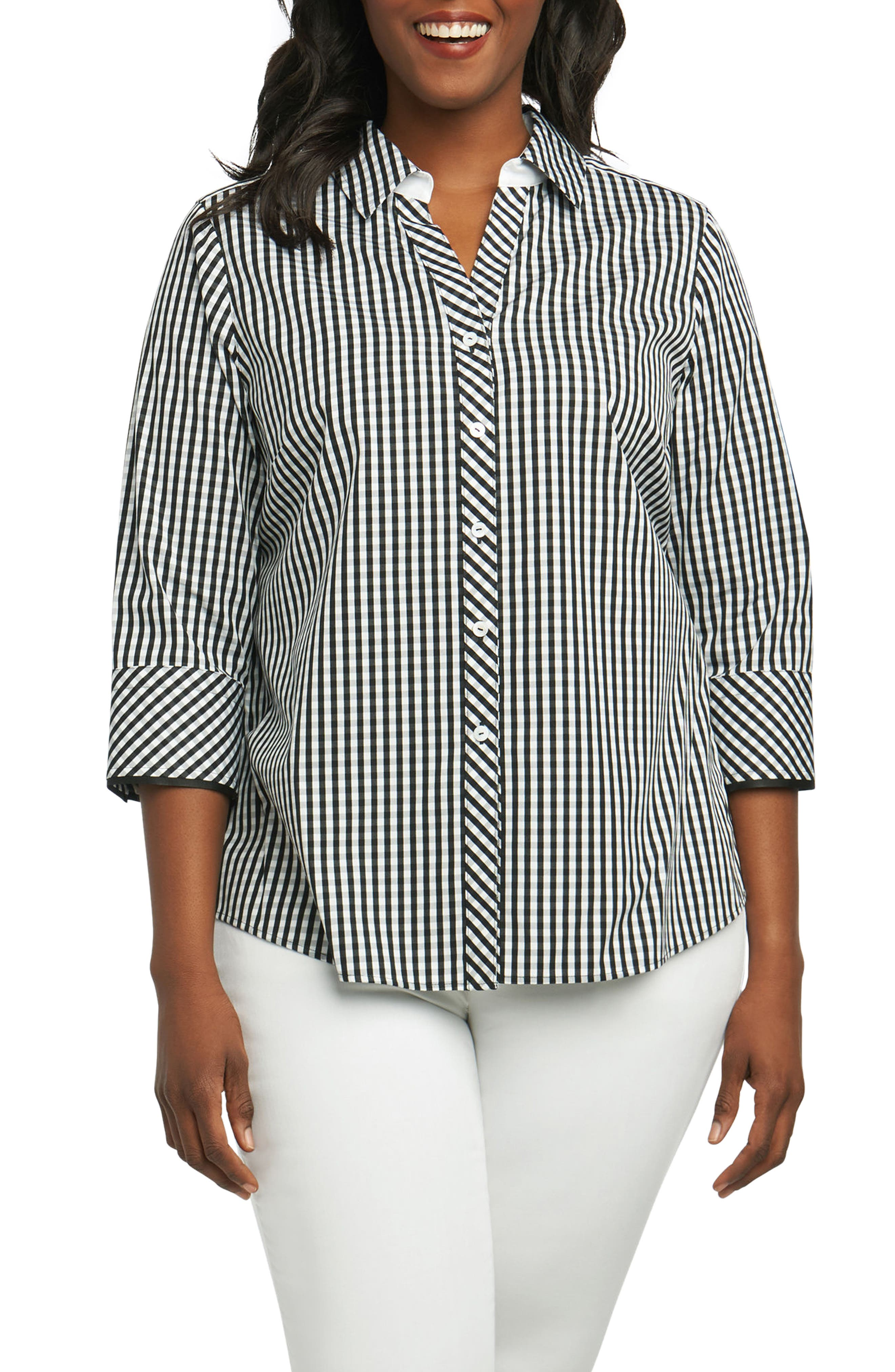 Mary Gingham Wrinkle Free Shirt,                             Main thumbnail 1, color,                             002