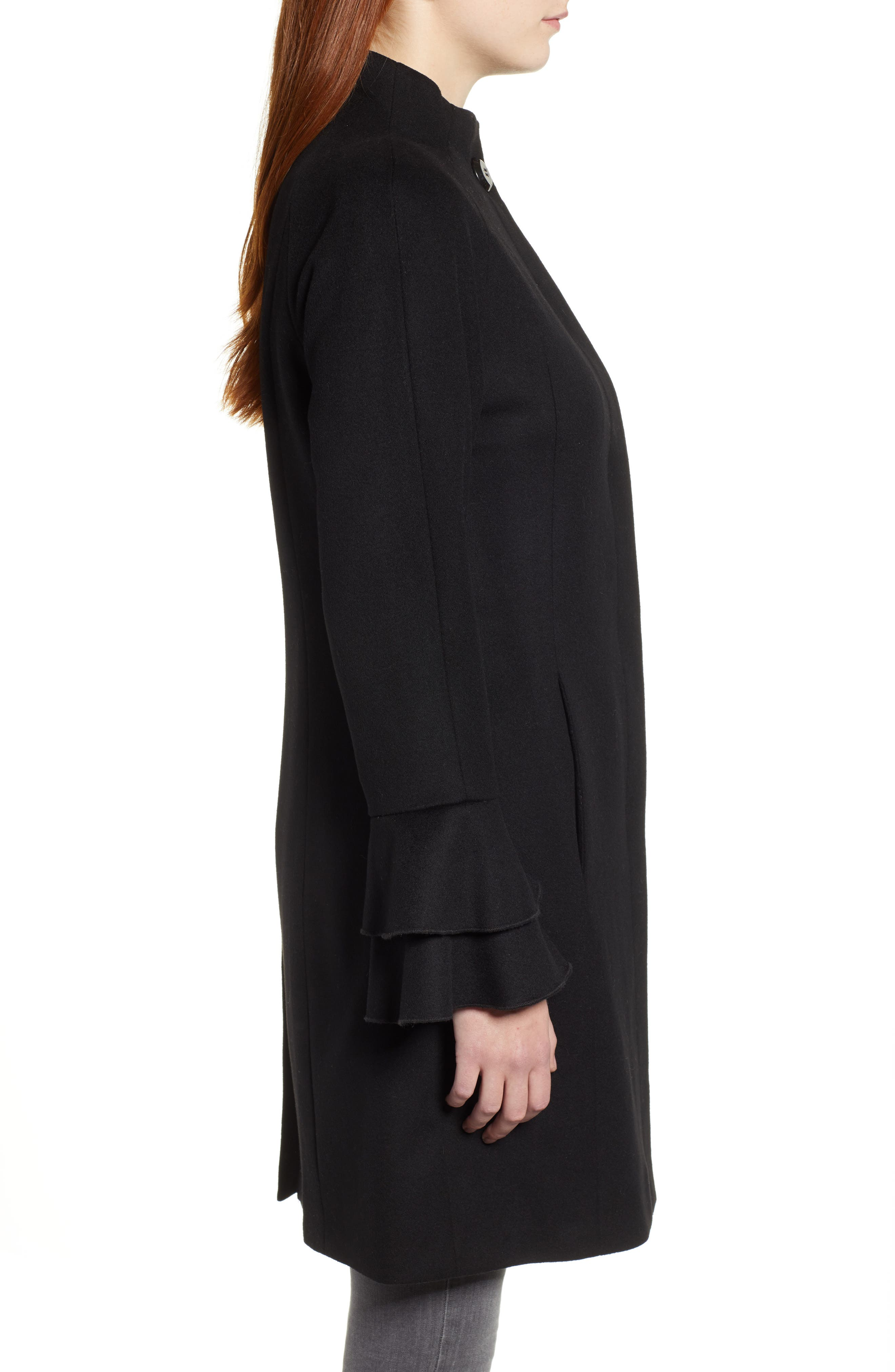 TRINA TURK,                             Sara Ruffle Cuff Wool Blend Coat,                             Alternate thumbnail 3, color,                             001