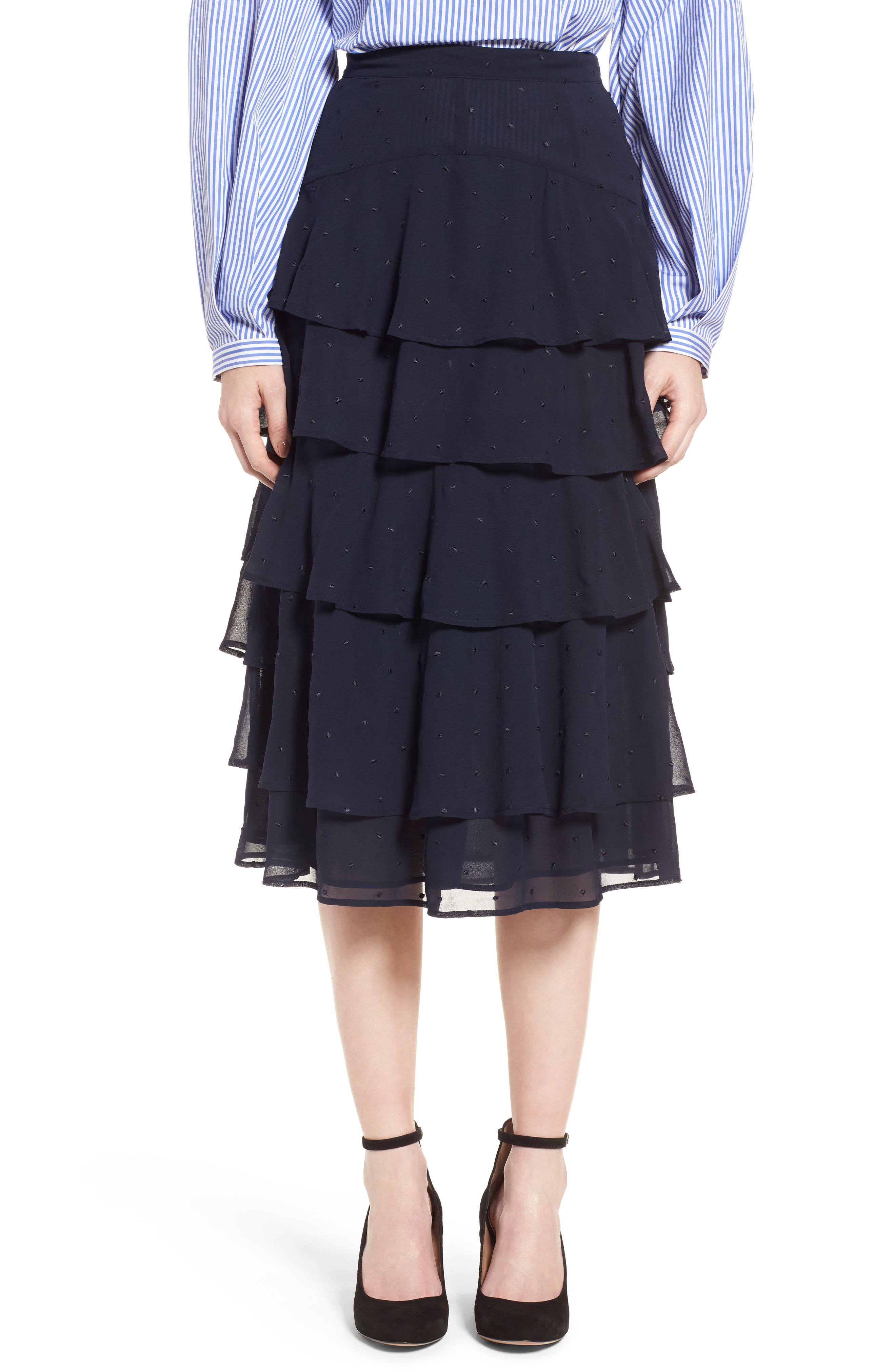 Tiered Silk Chiffon Skirt,                             Main thumbnail 1, color,                             410