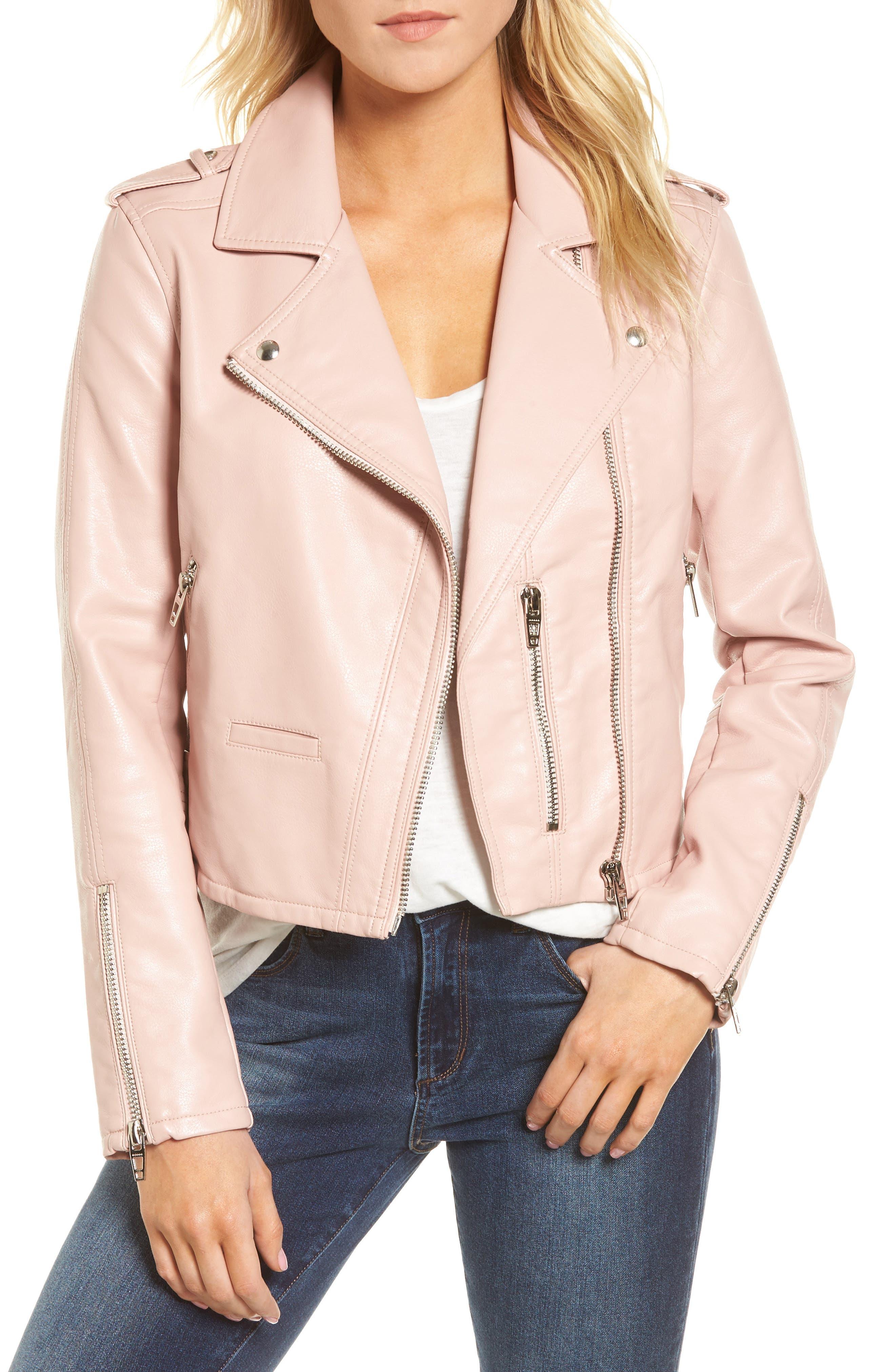 Faux Leather Moto Jacket,                         Main,                         color, BLUSHING HARD