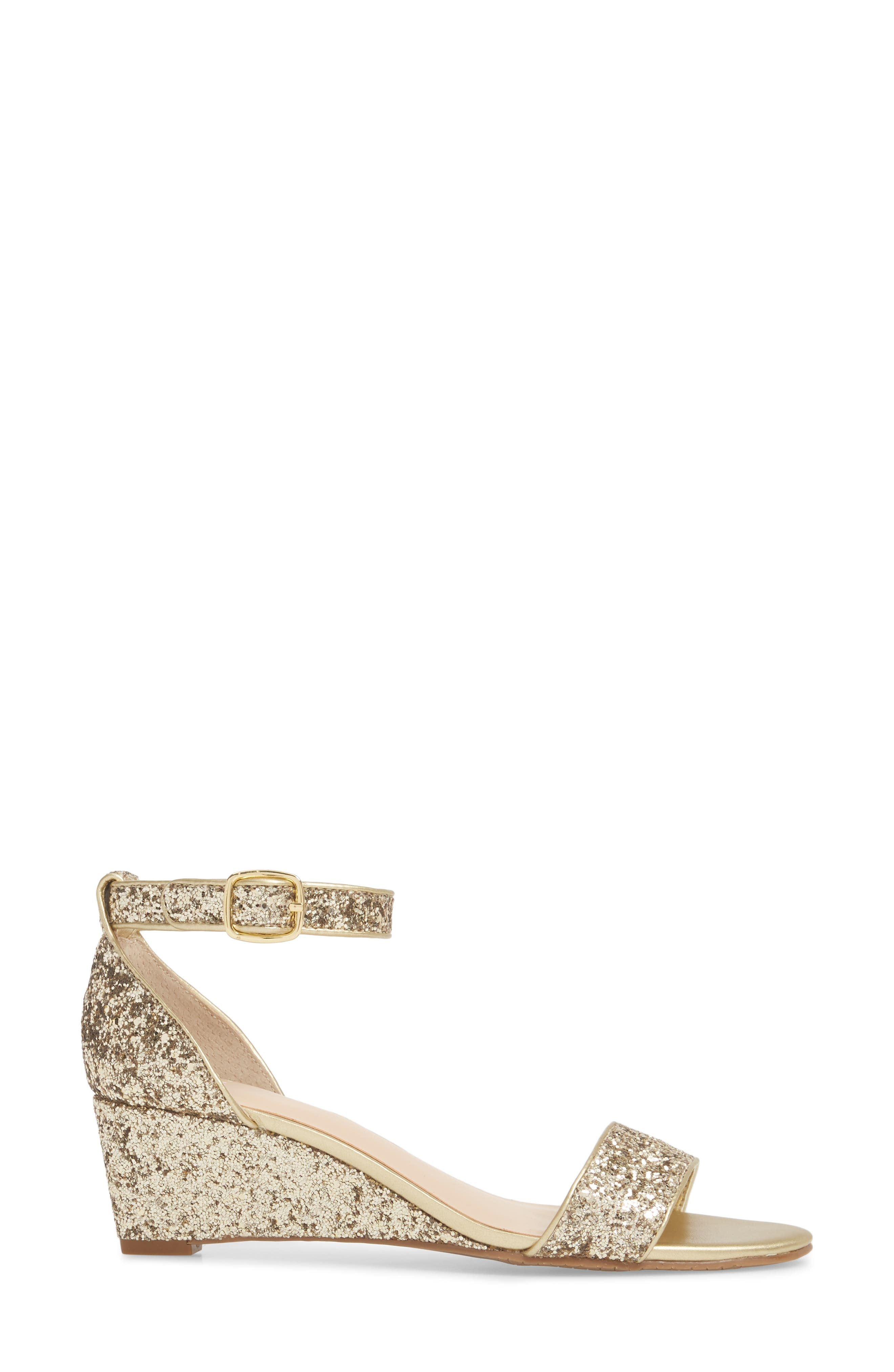 'Roxie' Wedge Sandal,                             Alternate thumbnail 3, color,                             GOLD GLITTER