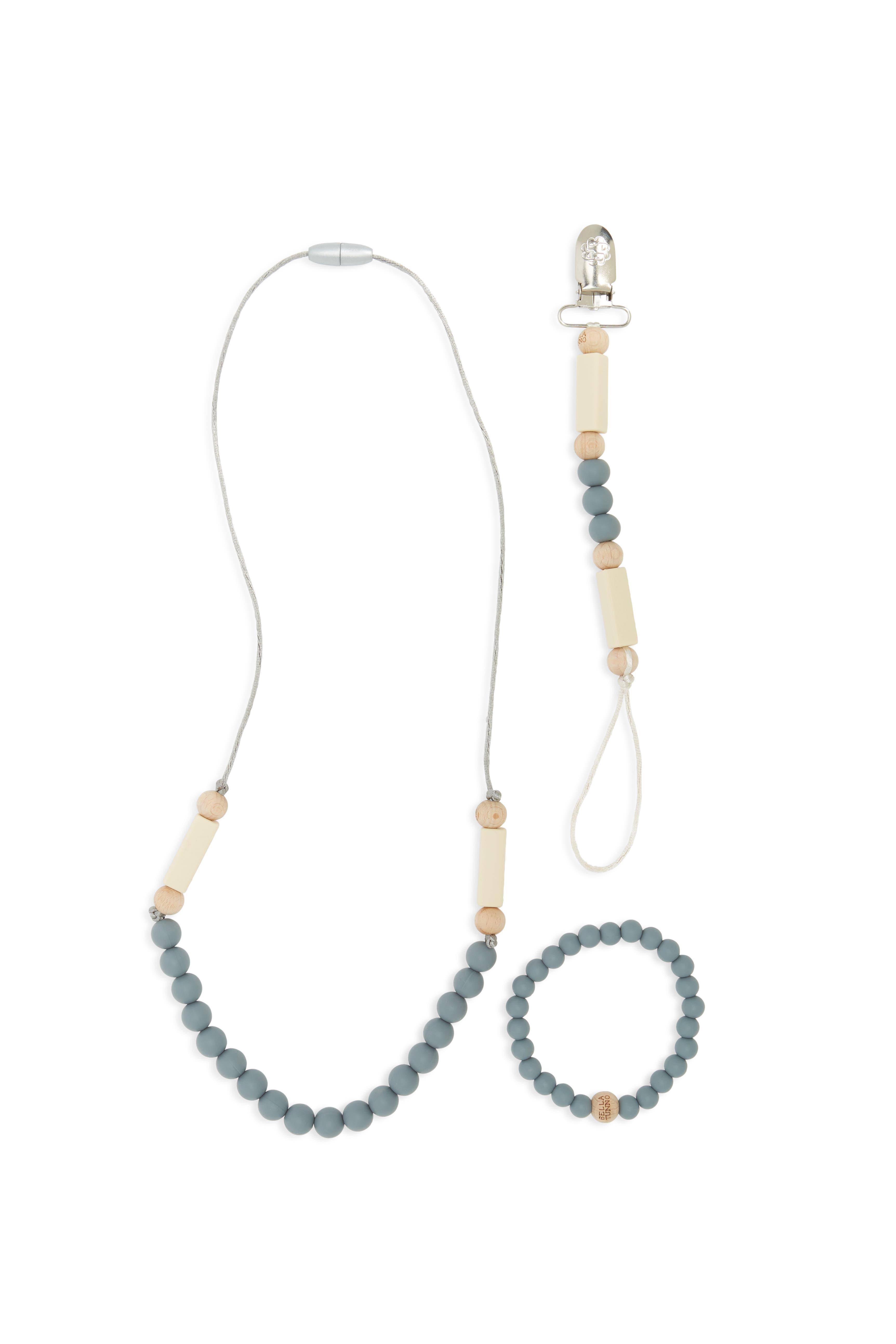 Grey Teething Necklace, Bracelet & Pacifier Clip Set,                             Main thumbnail 1, color,