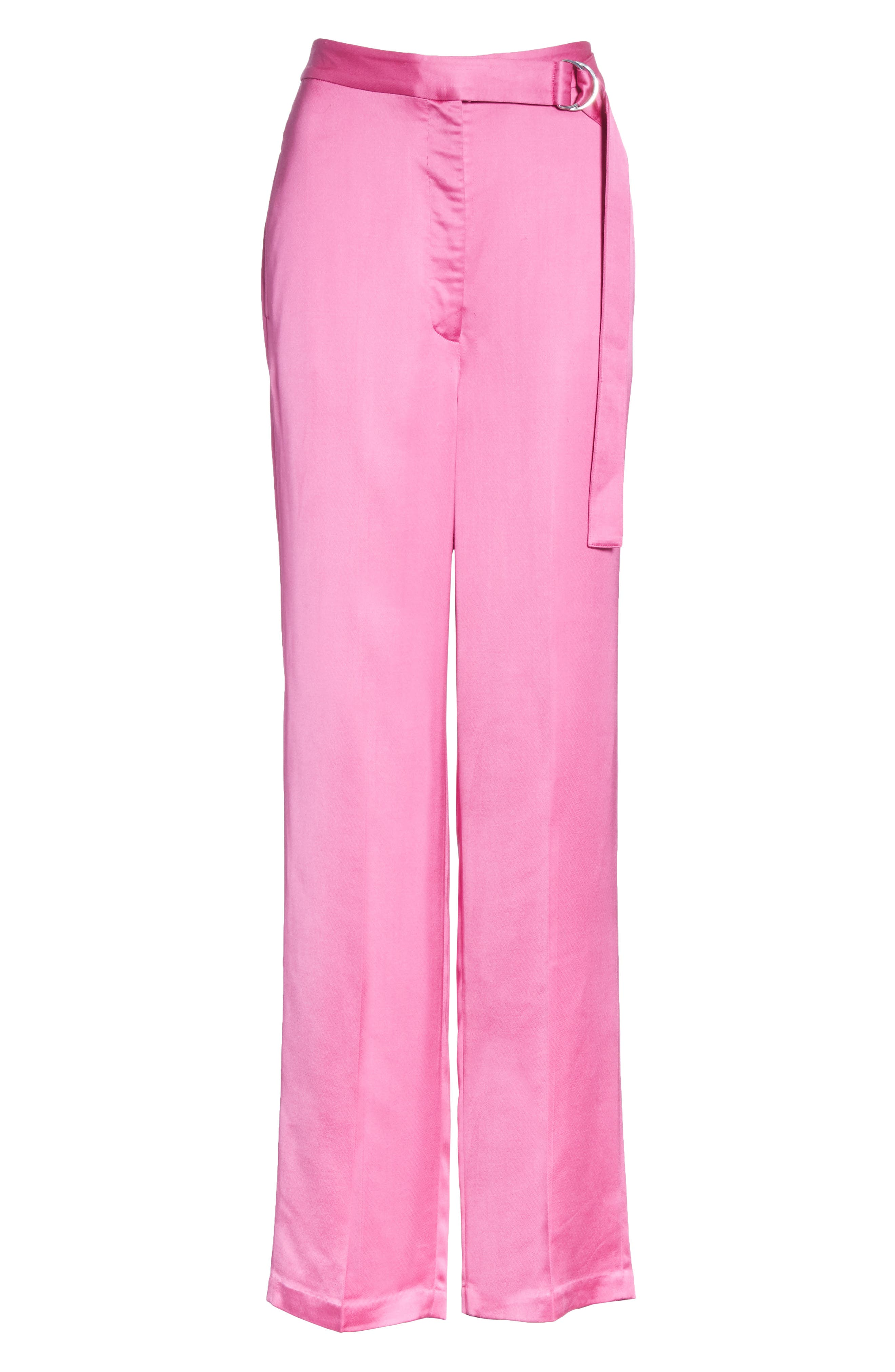 High Waist Satin Twill Pants,                             Alternate thumbnail 6, color,                             HOT PINK