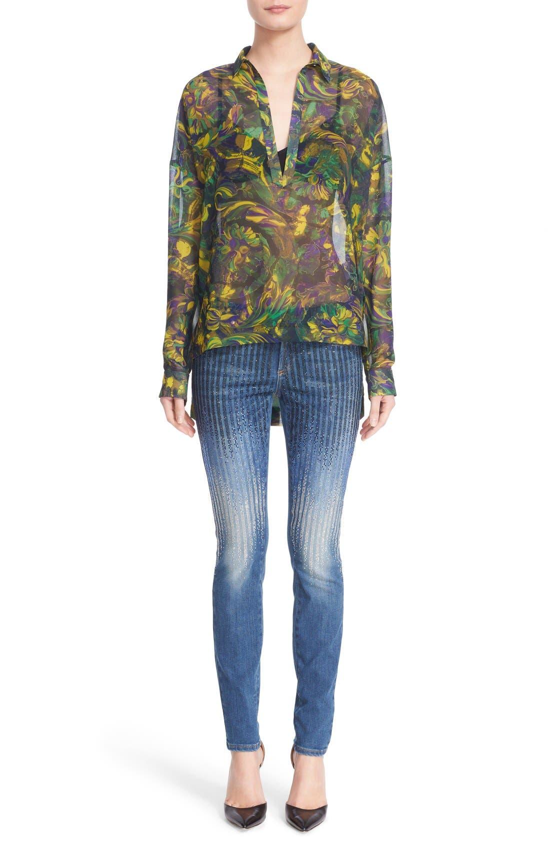 Sparkle Stripe Embellished Skinny Jeans,                             Alternate thumbnail 7, color,                             400