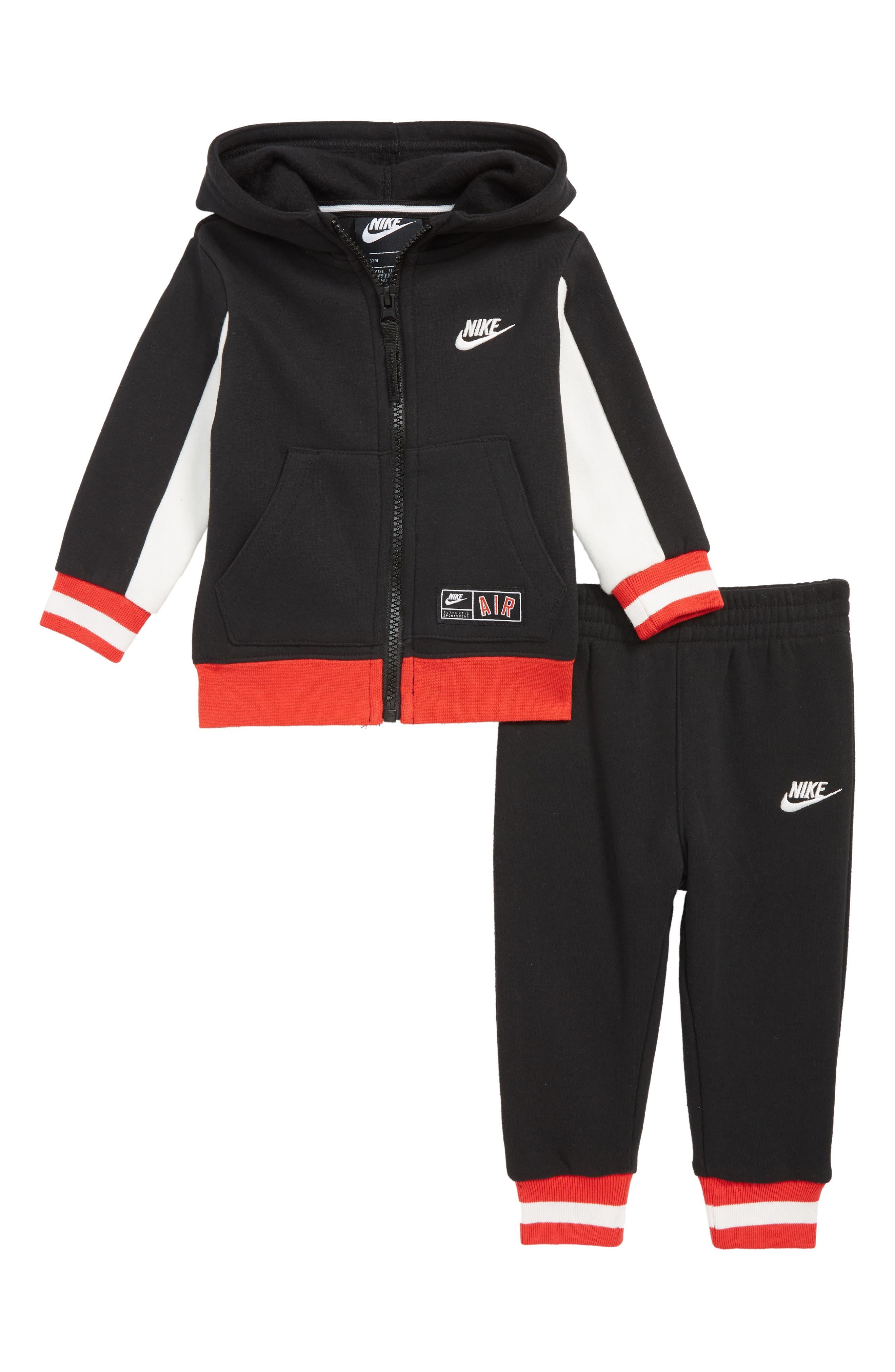 Air Zip Hoodie & Jogger Pants Set, Main, color, BLACK