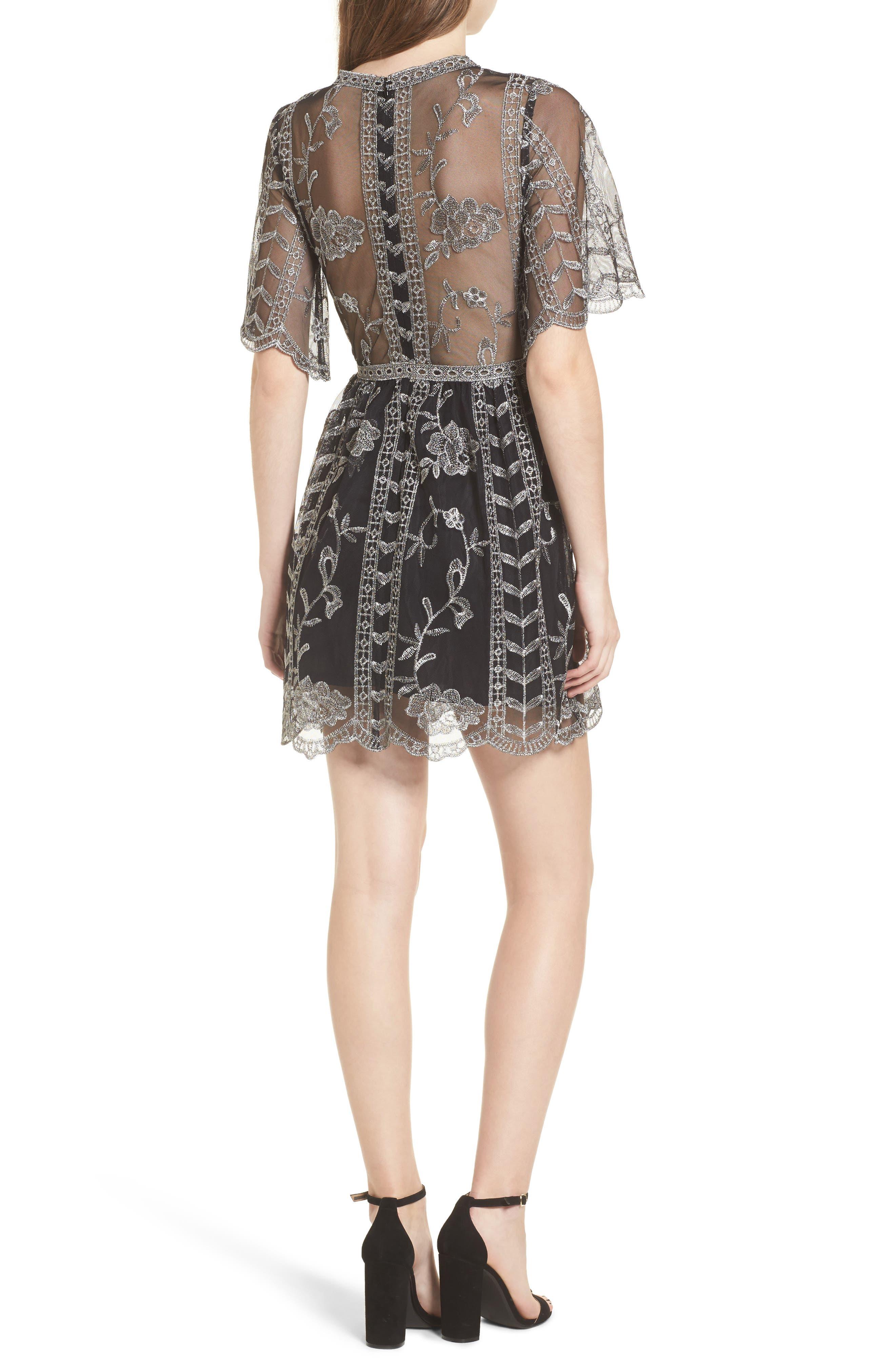 Plunging Lace Dress,                             Alternate thumbnail 2, color,