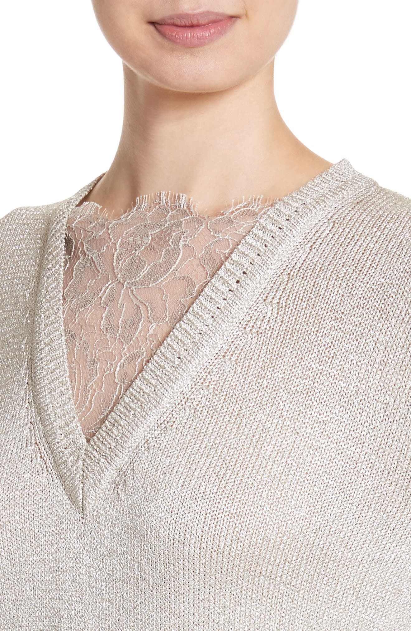 St John Collection Metallic Jersey Knit Sweater,                             Alternate thumbnail 4, color,                             020