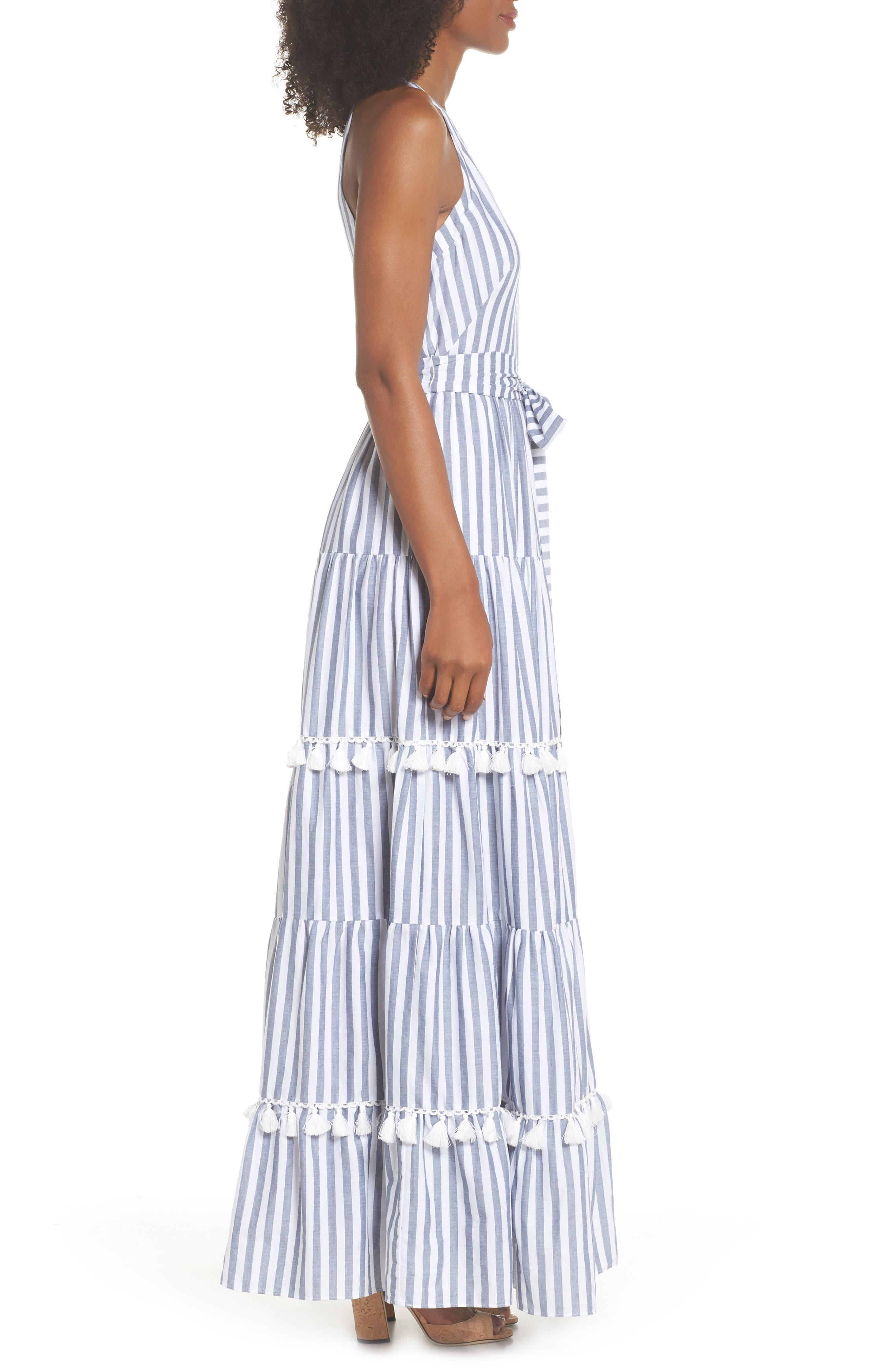 ELIZA J,                             Tiered Tassel Fringe Cotton Maxi Dress,                             Alternate thumbnail 3, color,                             IVORY/ GREY