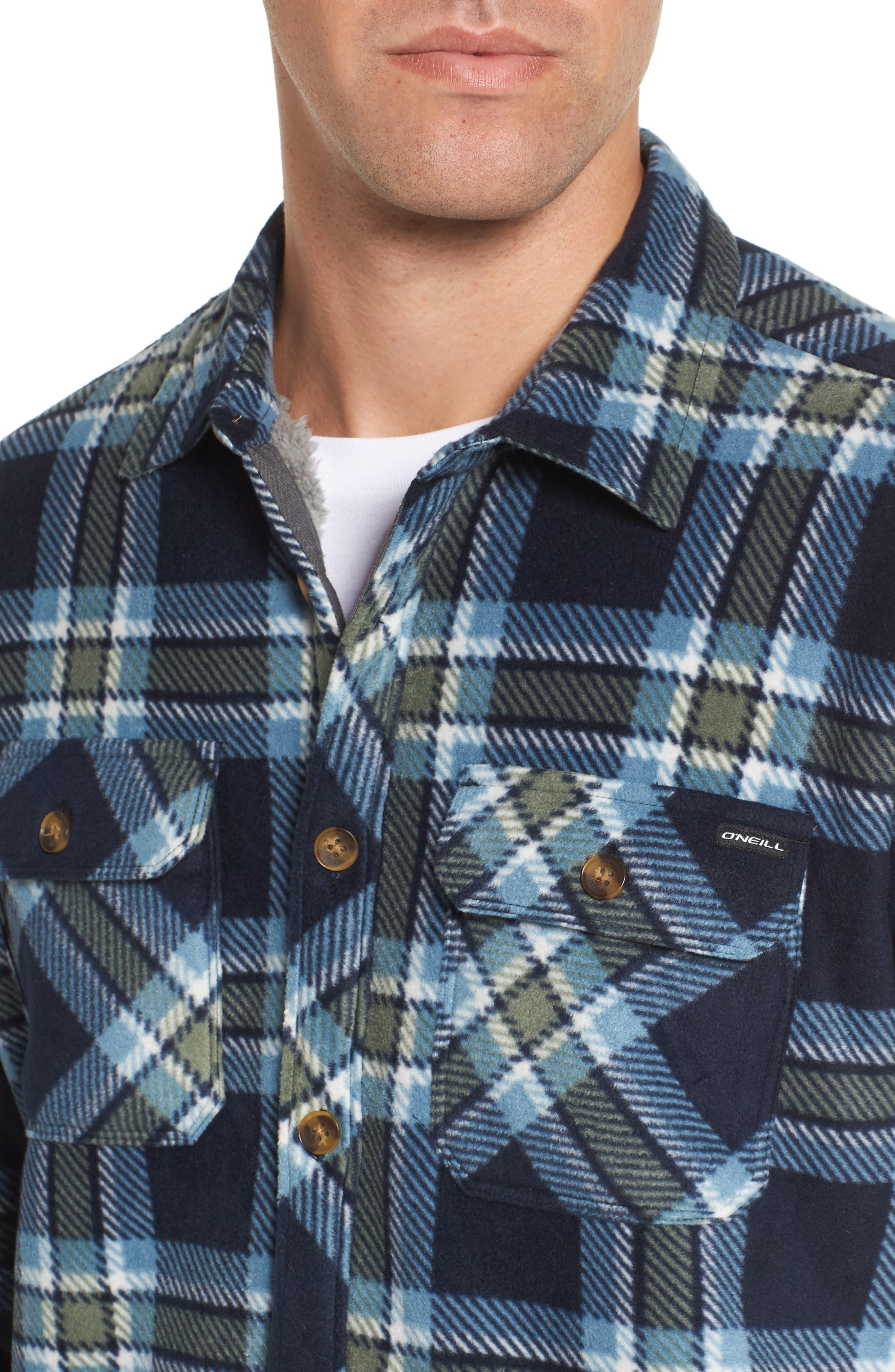 Glacier Heat Dome Plaid Fleece Shirt,                             Alternate thumbnail 8, color,