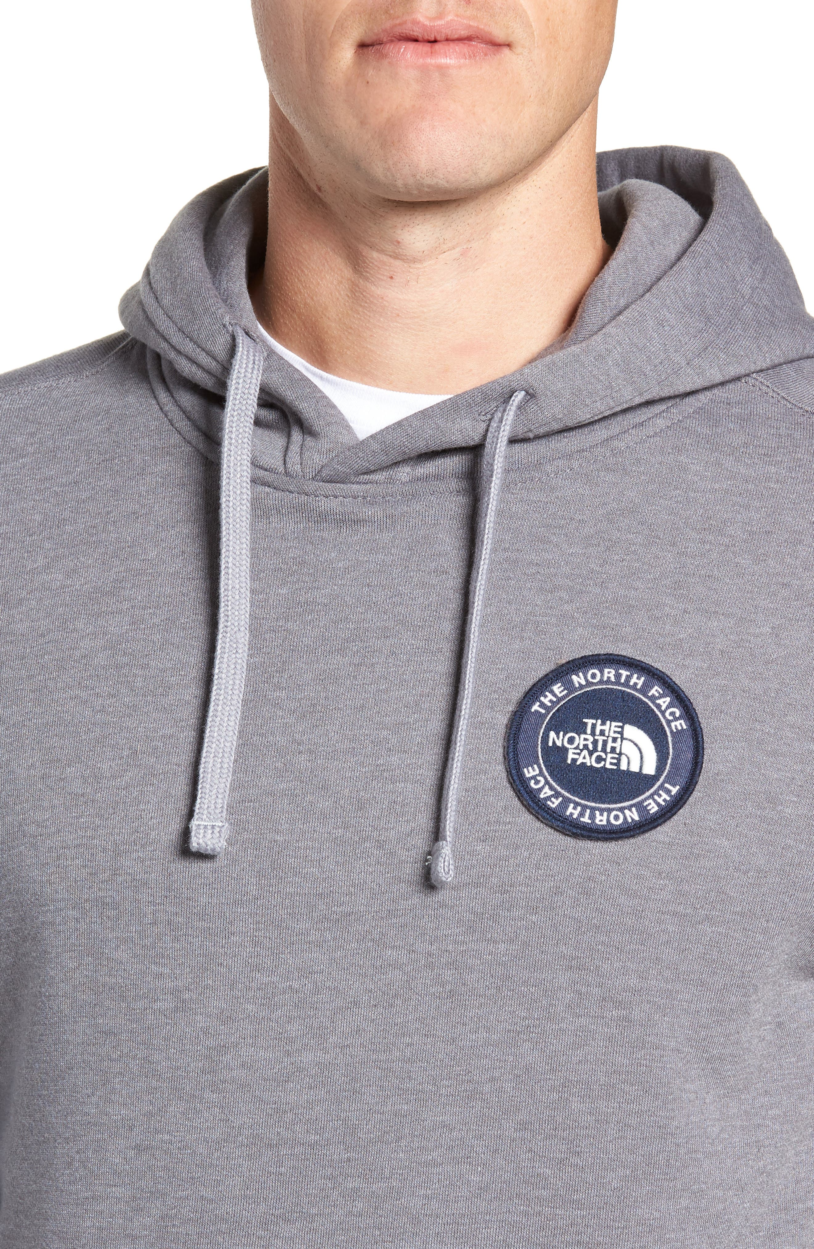 North Face Logo Patch Pullover Hoodie,                             Alternate thumbnail 4, color,                             TNF MEDIUM GREY HEATHER