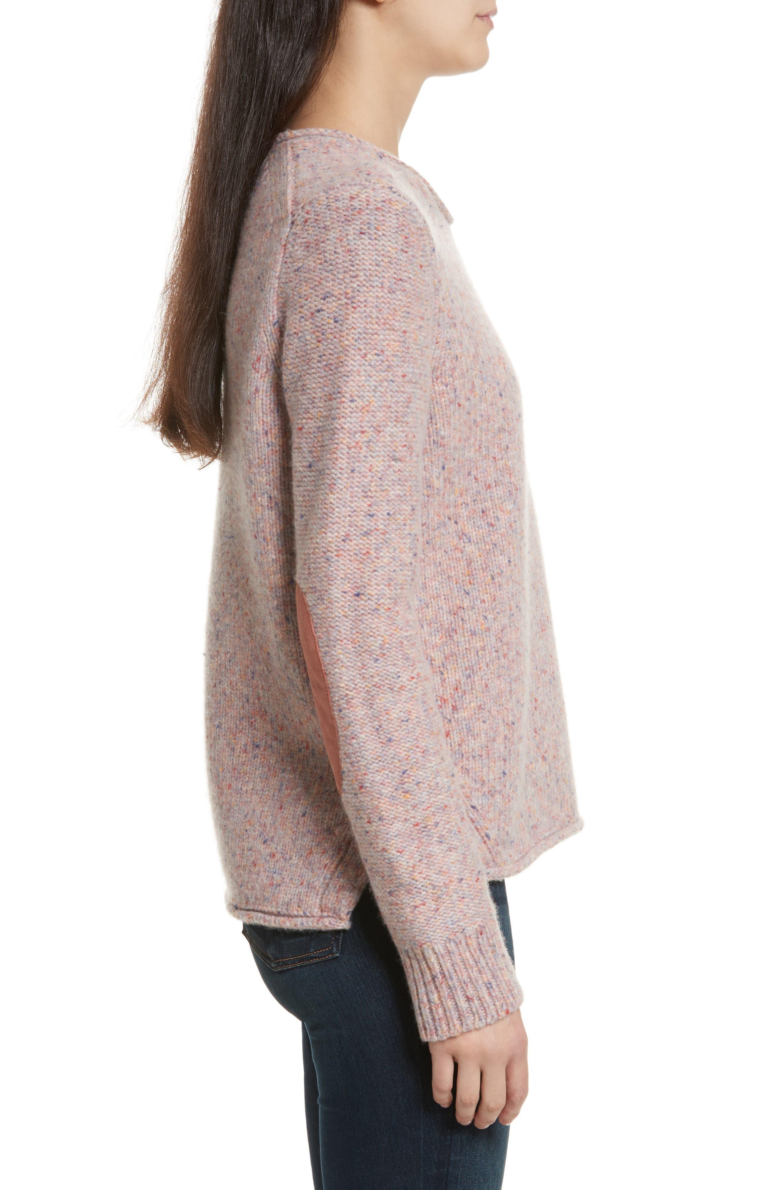 Francie Suede Trim Wool Blend Sweater,                             Alternate thumbnail 3, color,                             691