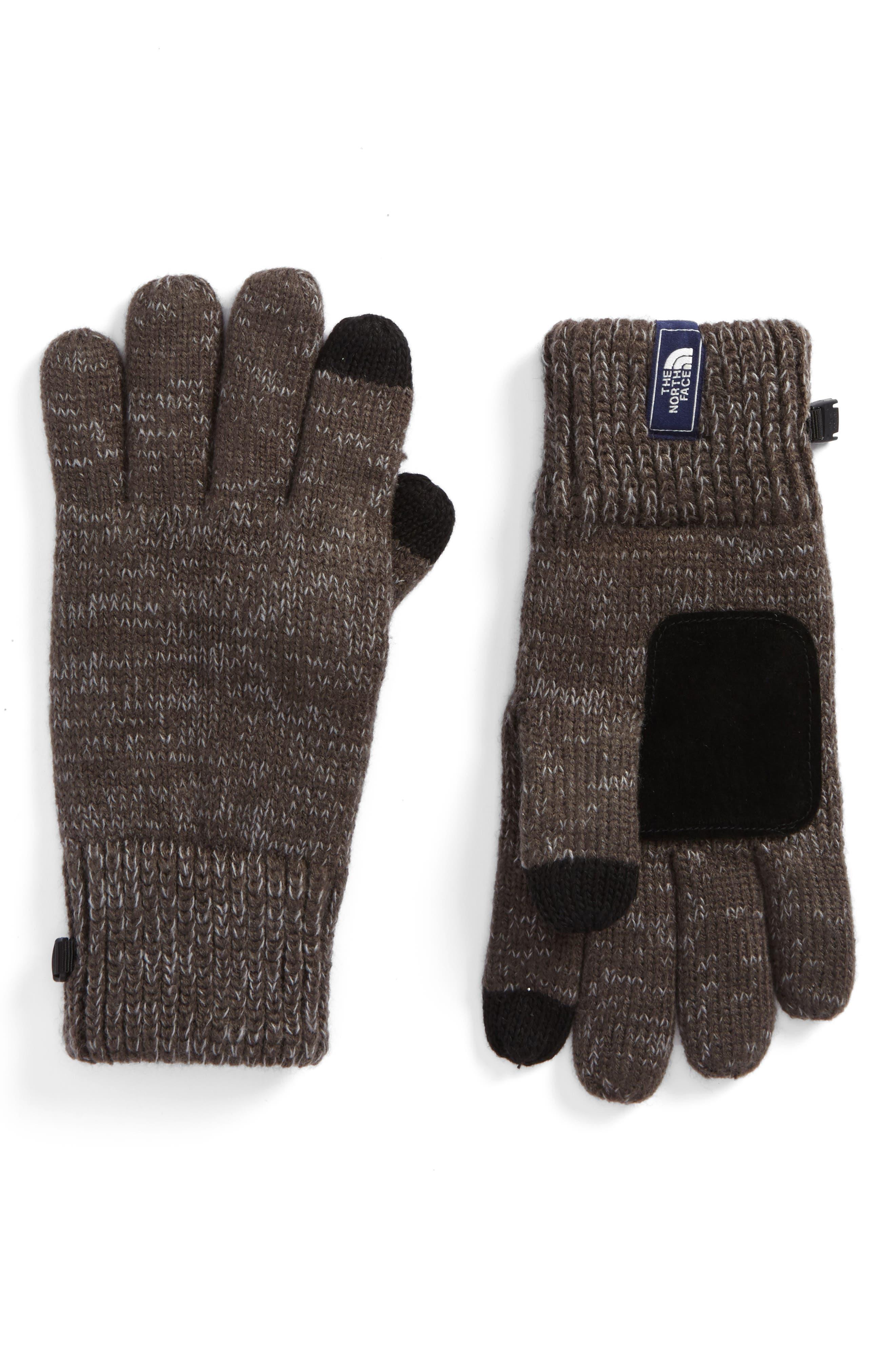 Etip Salty Dog Knit Tech Gloves,                             Main thumbnail 1, color,                             GRAPHITE GREY/ MID GREY MARL