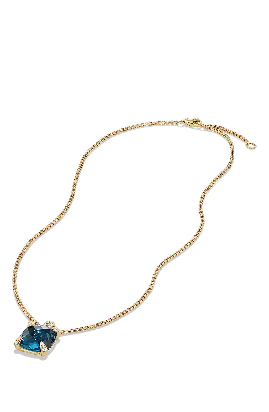 'Châtelaine' Pendant Necklace with Diamonds in 18K Gold,                             Alternate thumbnail 3, color,                             HAMPTON BLUE TOPAZ