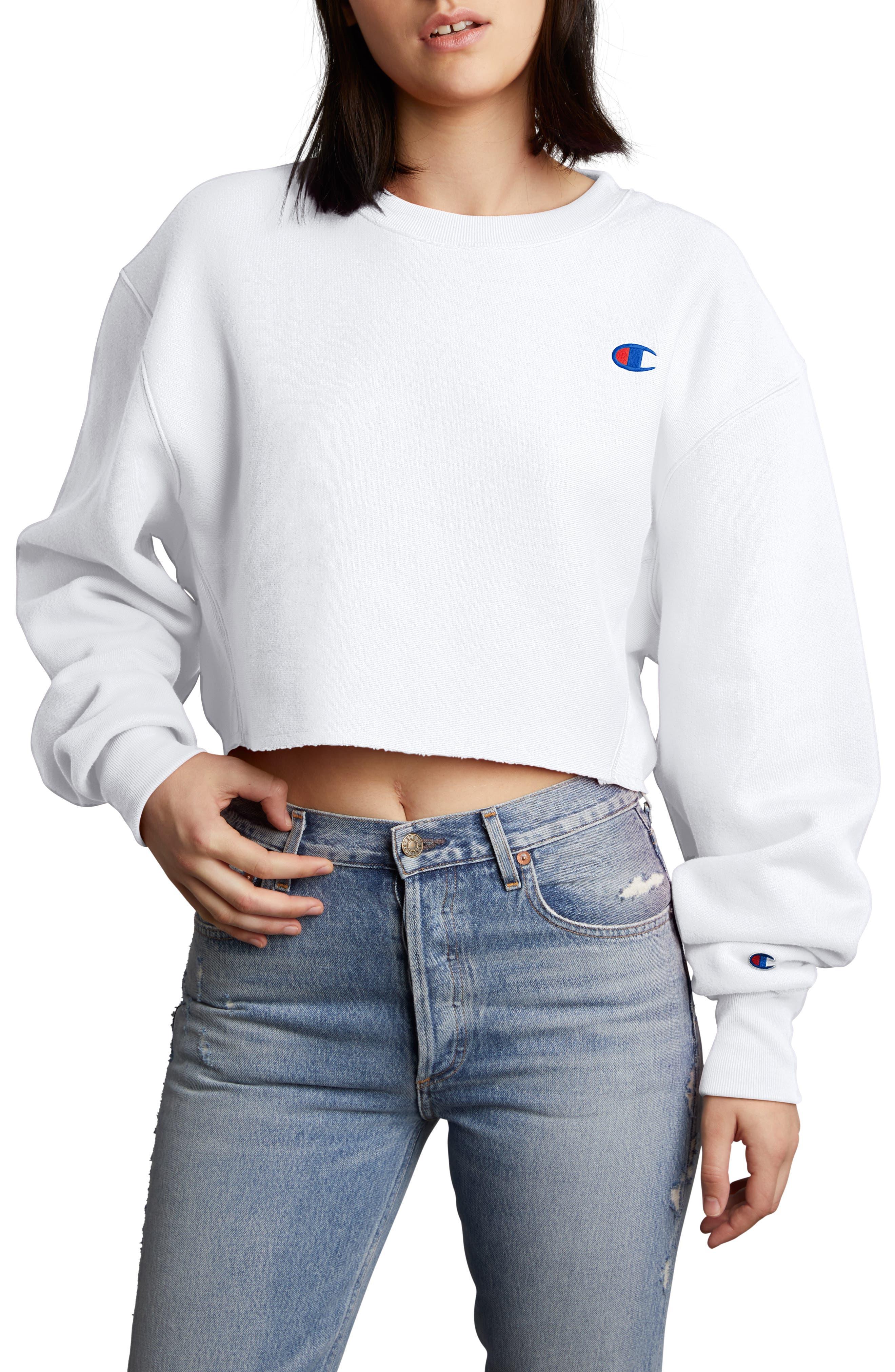 Crop Reverse Weave Sweatshirt,                         Main,                         color, WHITE