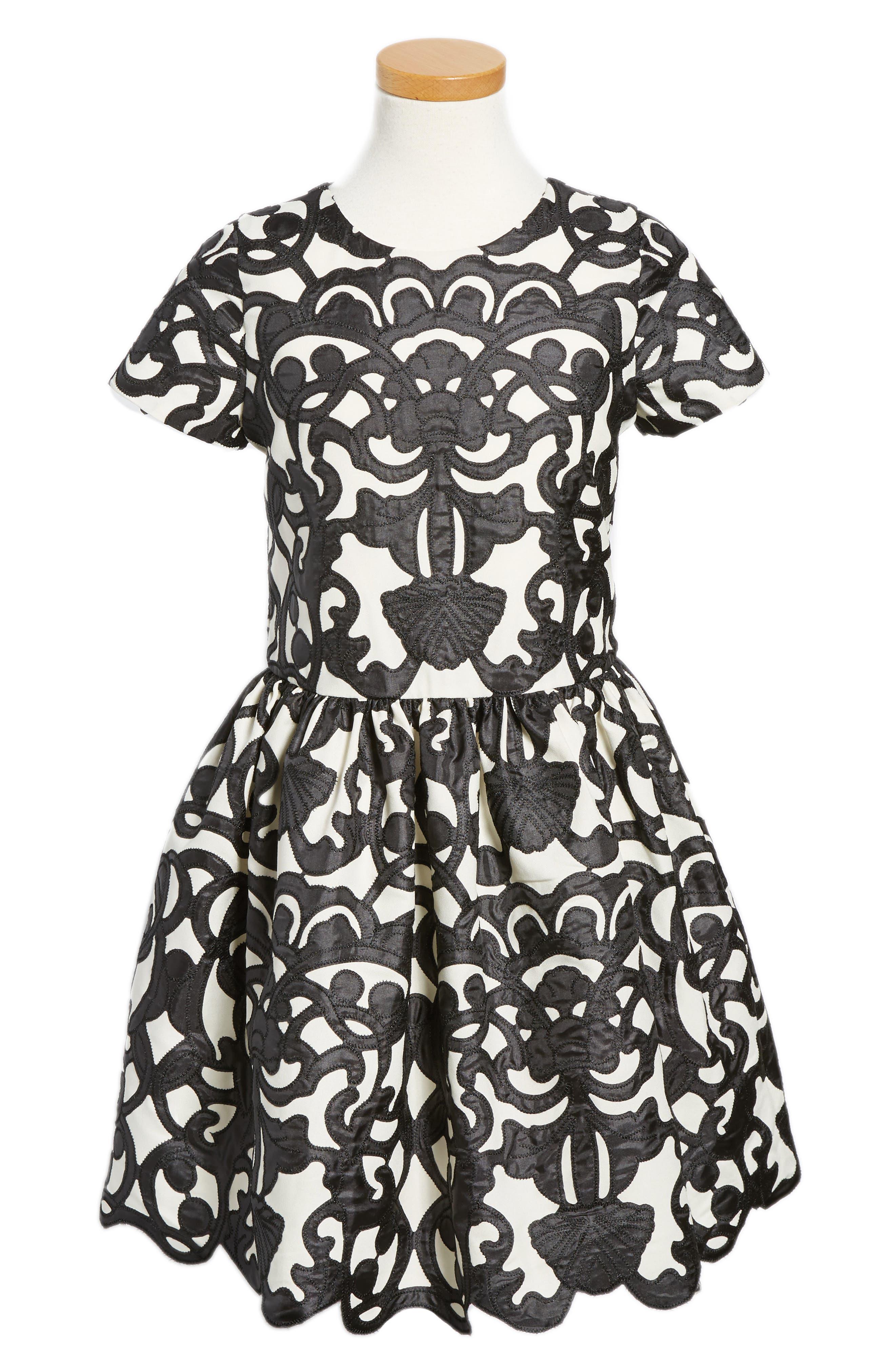 Laser Cut Appliqué Dress,                             Alternate thumbnail 3, color,                             001