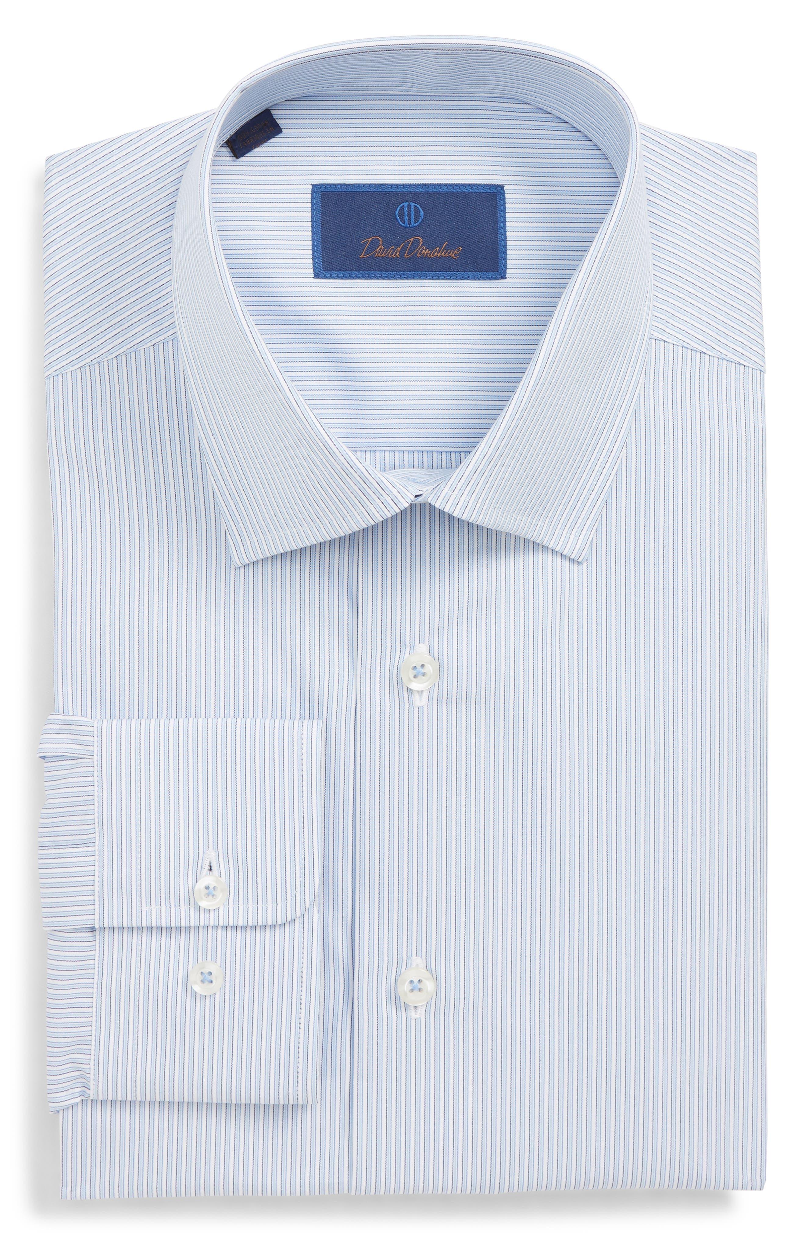 Regular Fit Stripe Dress Shirt,                             Main thumbnail 1, color,                             BLUE