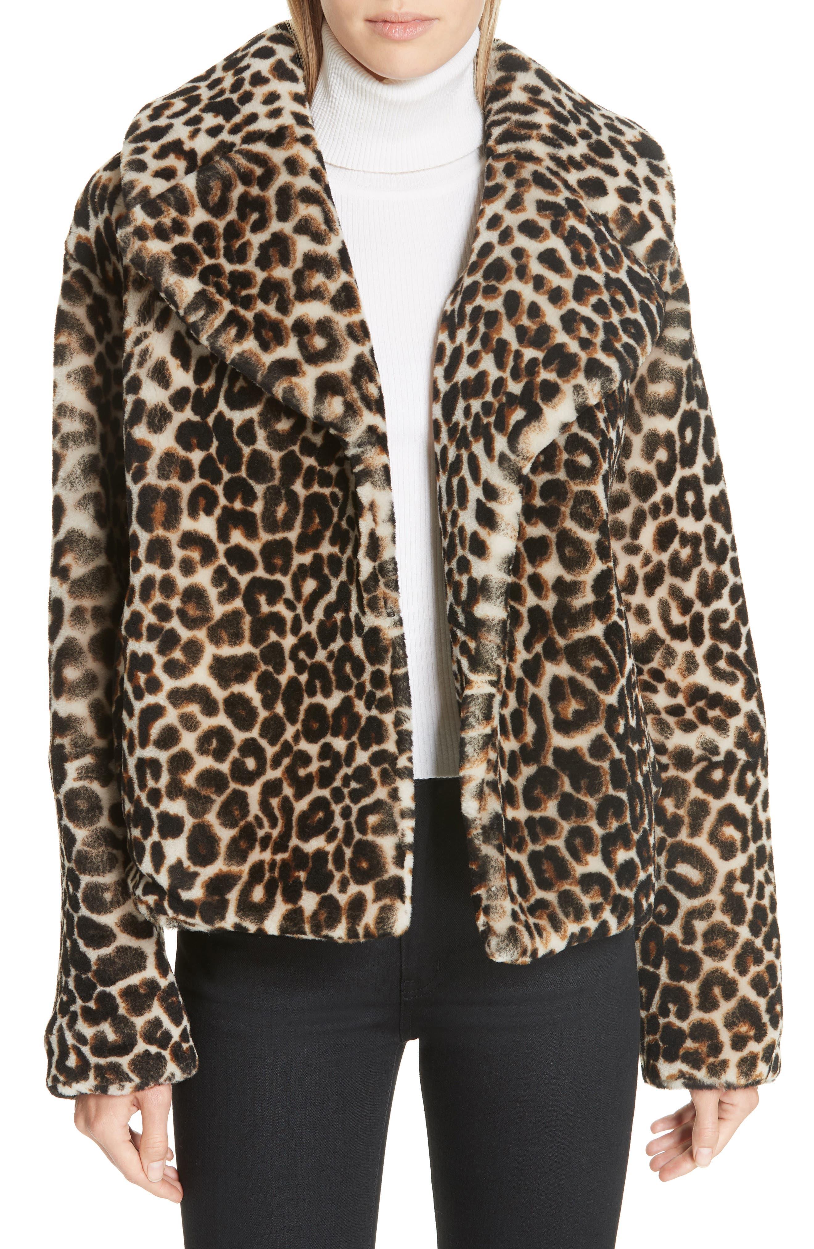 A.L.C. Grant Leopard Print Genuine Shearling Jacket, Main, color, 900