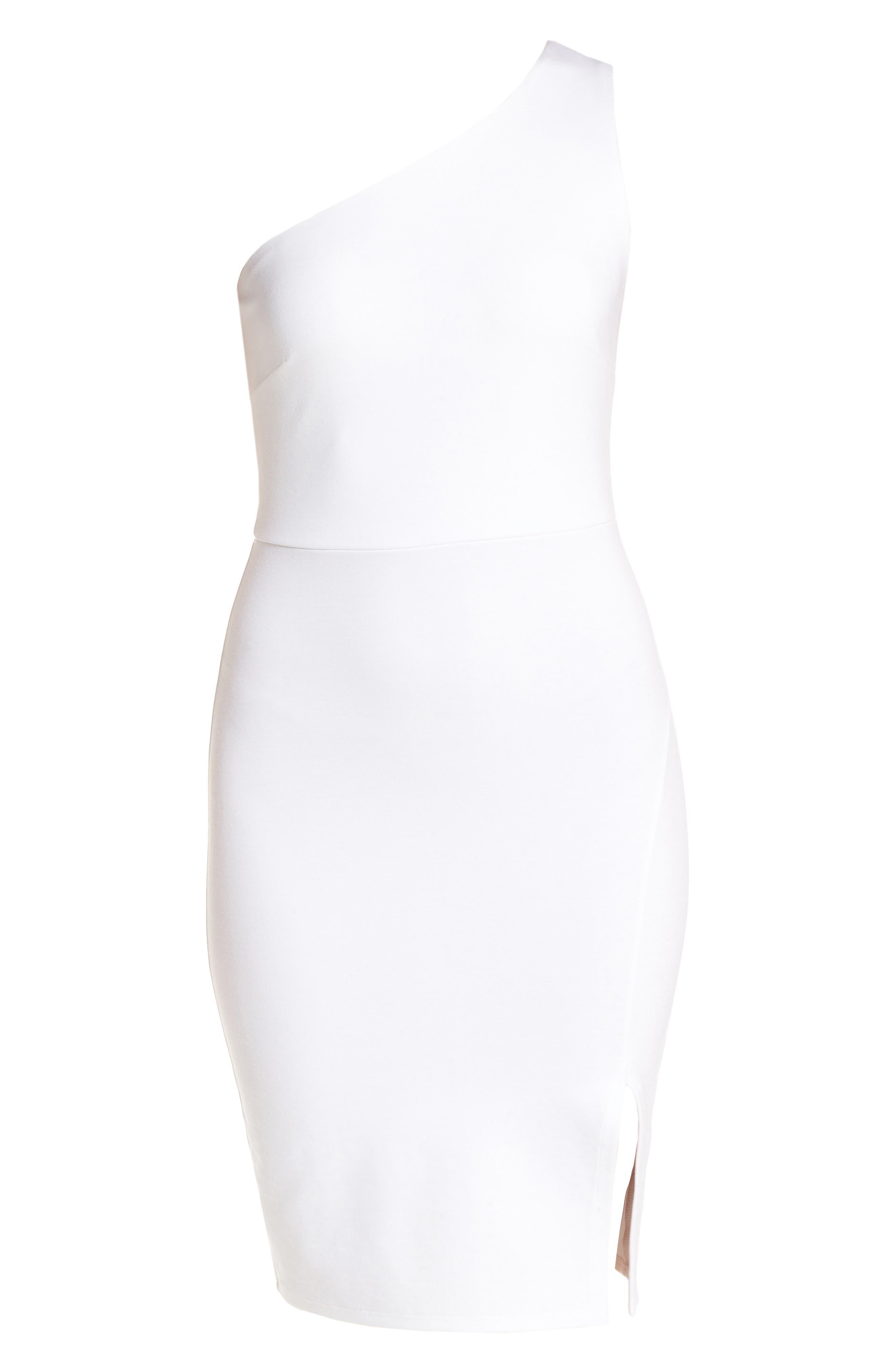 One-Shoulder Body-Con Minidress,                             Alternate thumbnail 6, color,