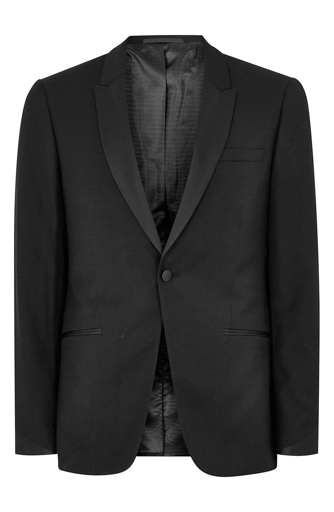 Skinny Fit Satin Lapel Tuxedo Jacket,                             Alternate thumbnail 4, color,                             001