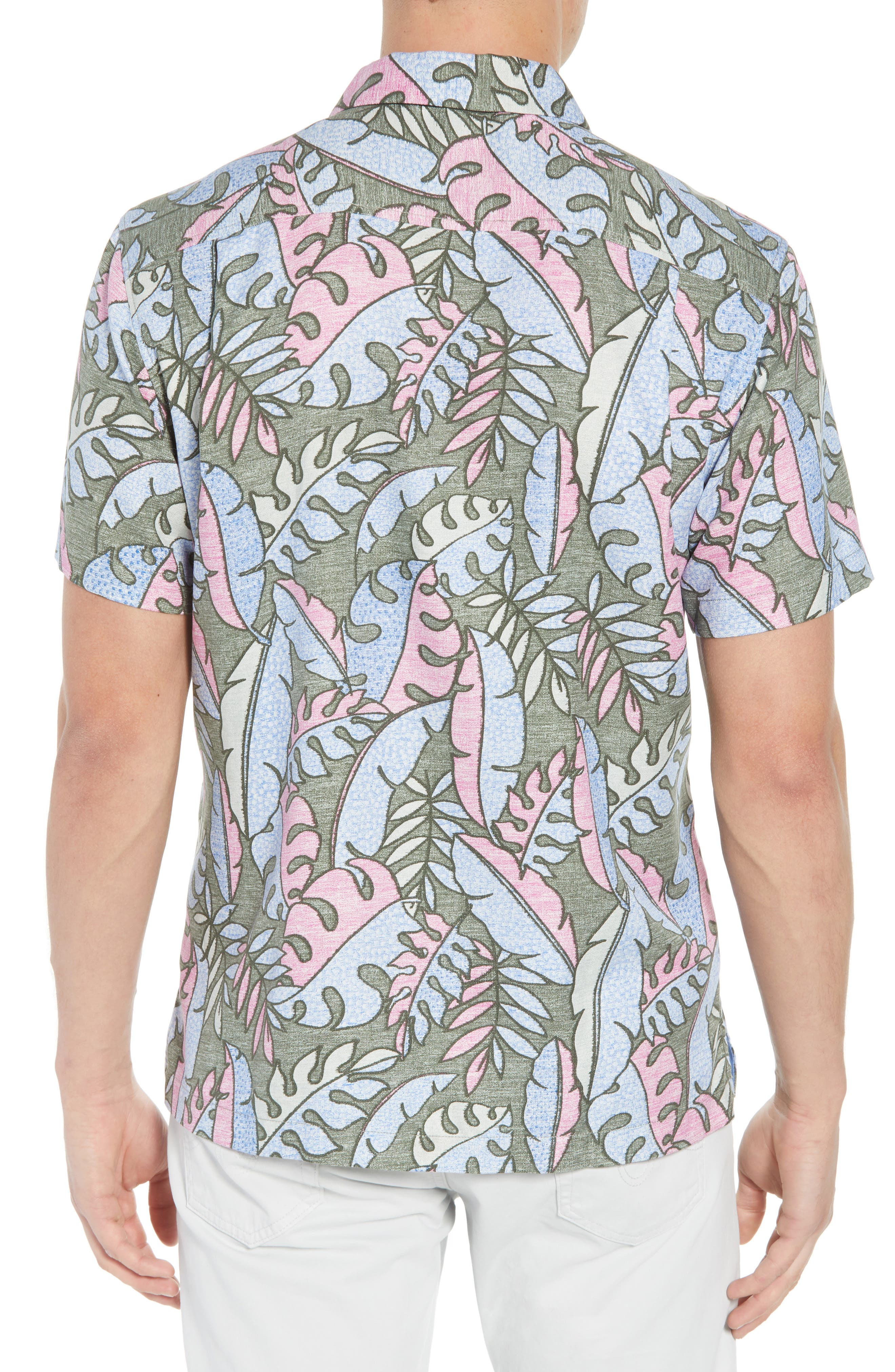 Mateo Fronds Silk Blend Camp Shirt,                             Alternate thumbnail 2, color,